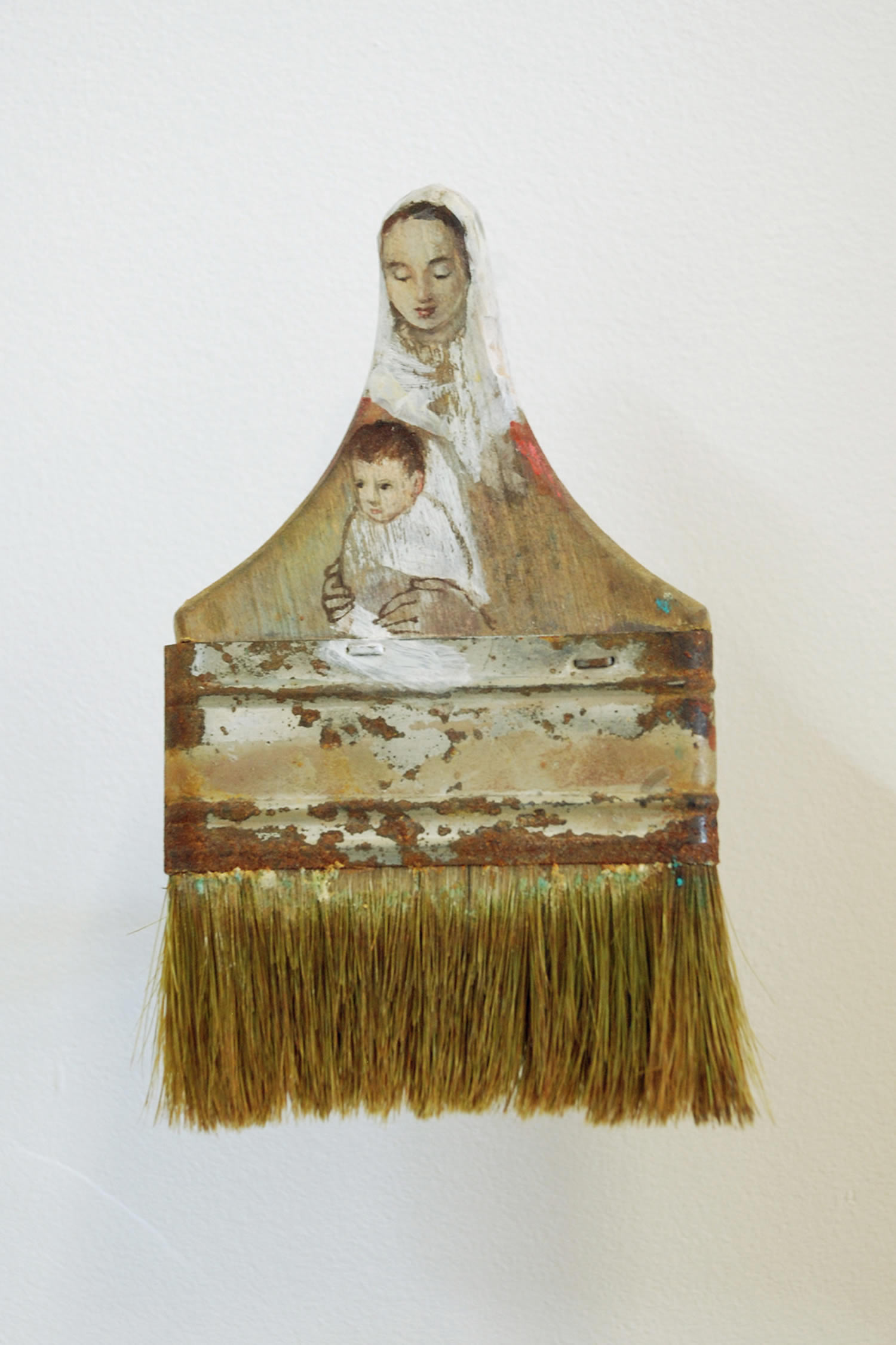 mary and baby,paintbrush portrait by Rebecca Szeto