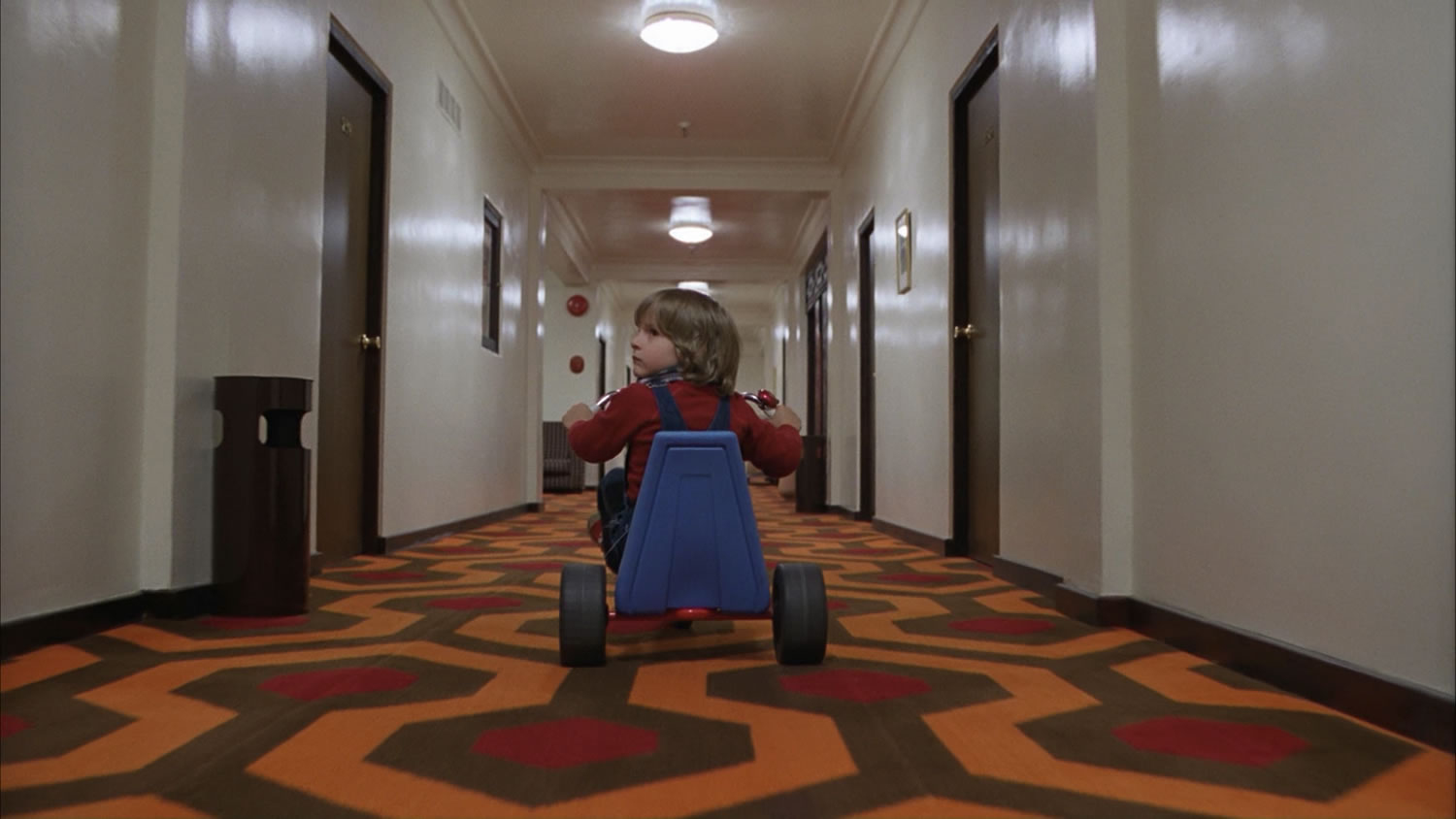 "The haunted hallways of the Overlook Hotel in ""The Shining"" (1980)"