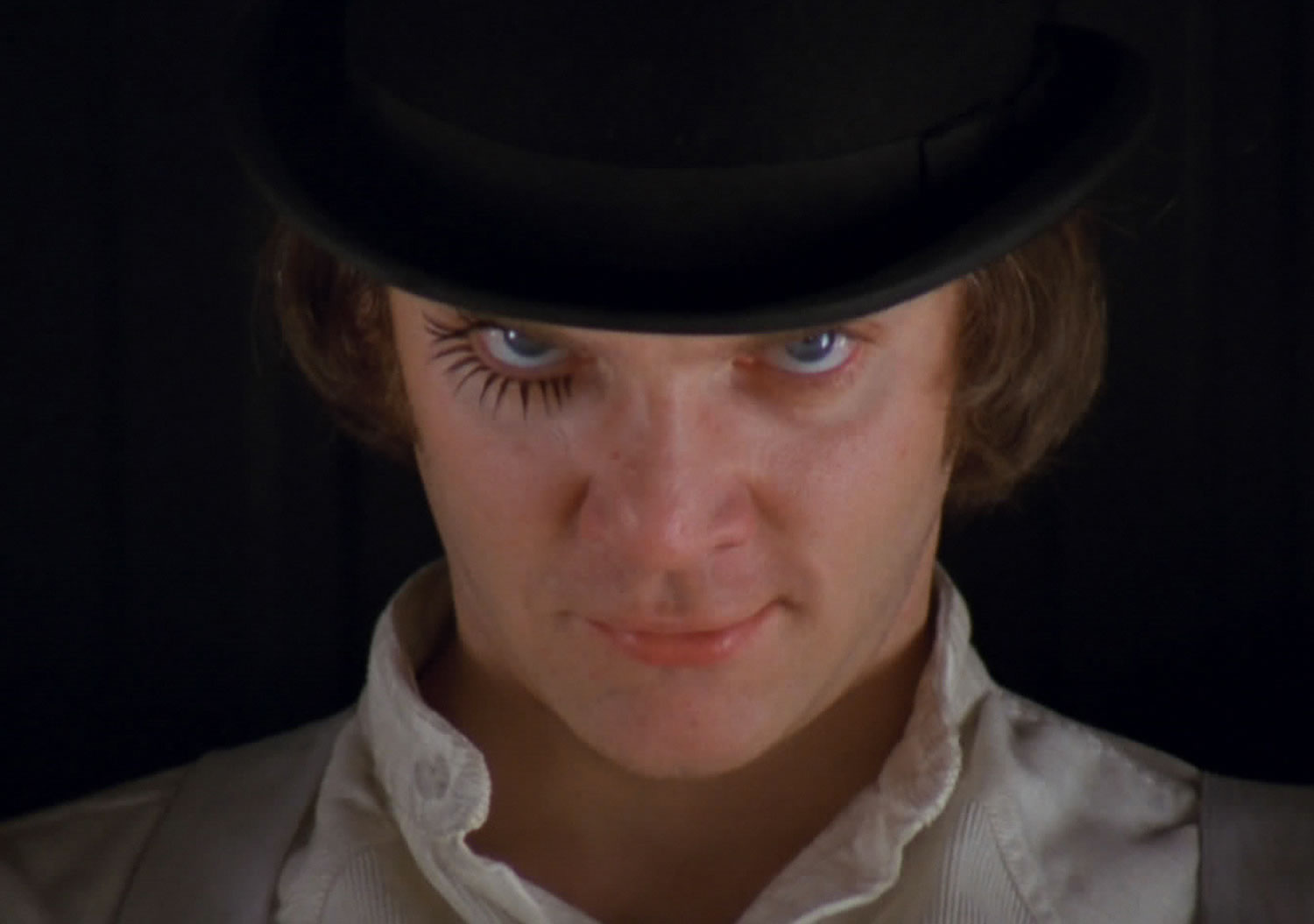 "GA close-up of Alex (Malcolm McDowell) in ""A Clockwork Orange"" © Warner Bros. Pictures."