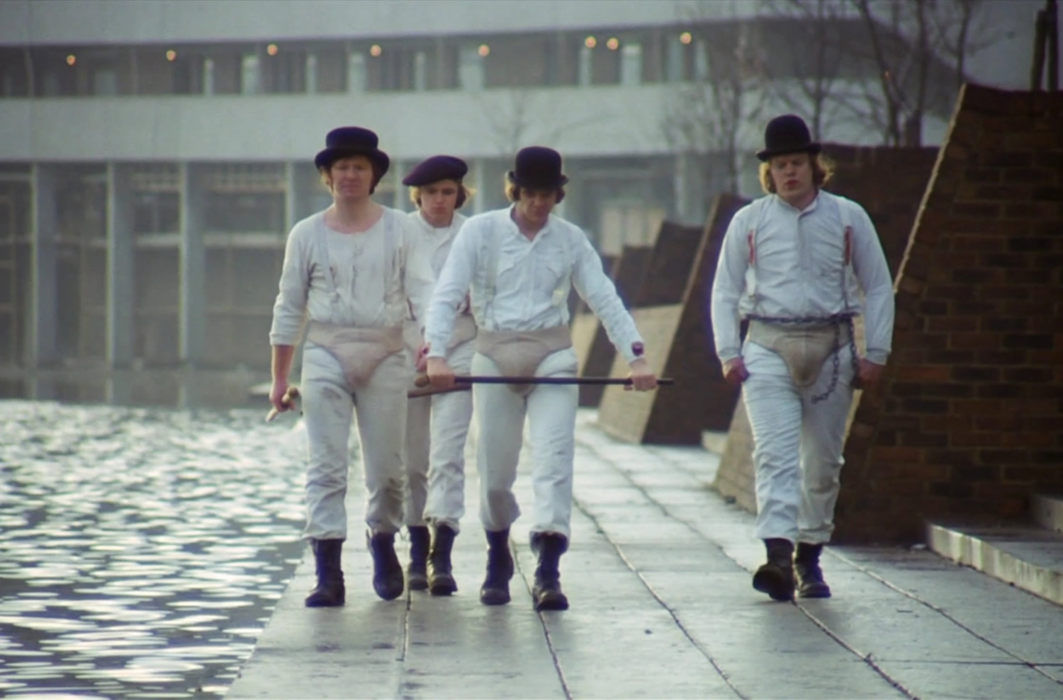 "The Droogs booted up for action in ""A Clockwork Orange"" (1971) © Warner Bros. Pictures."