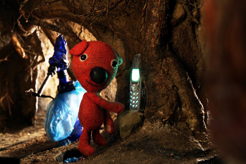 kooky animation puppet red bear phone
