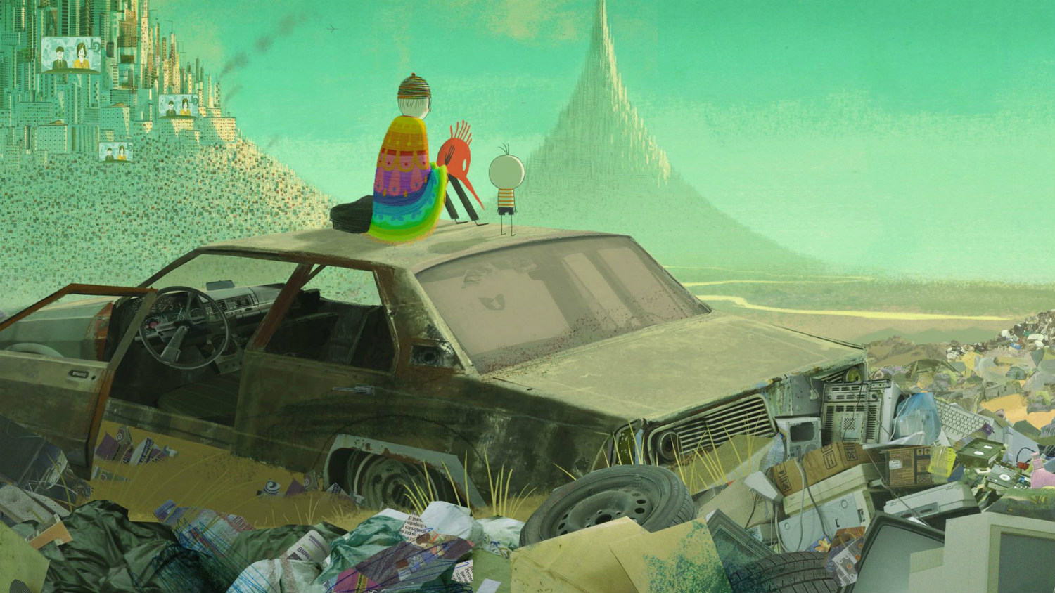 the boy and his world animation brazil car rubbish green