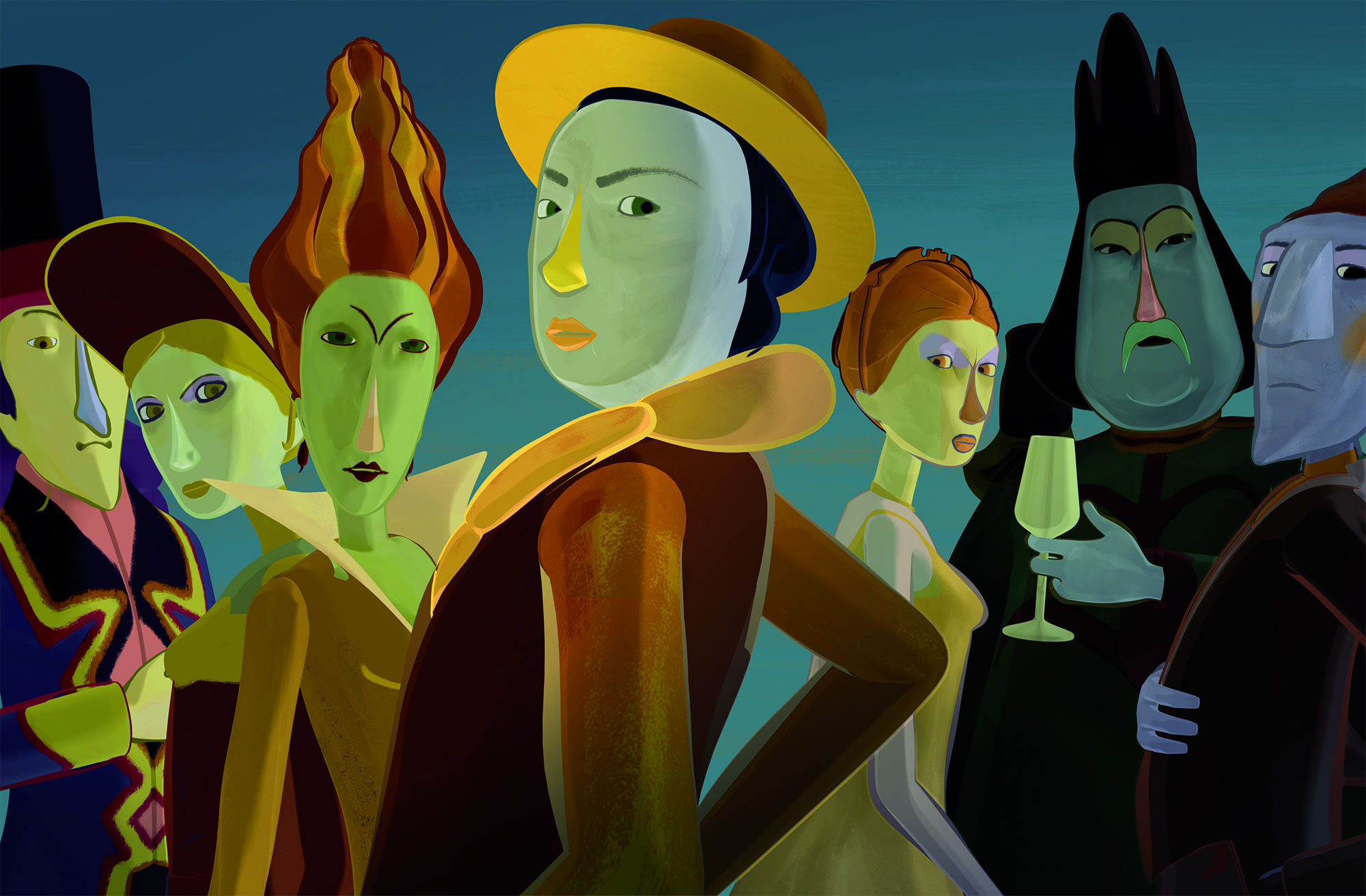 characters from the movie, The painting