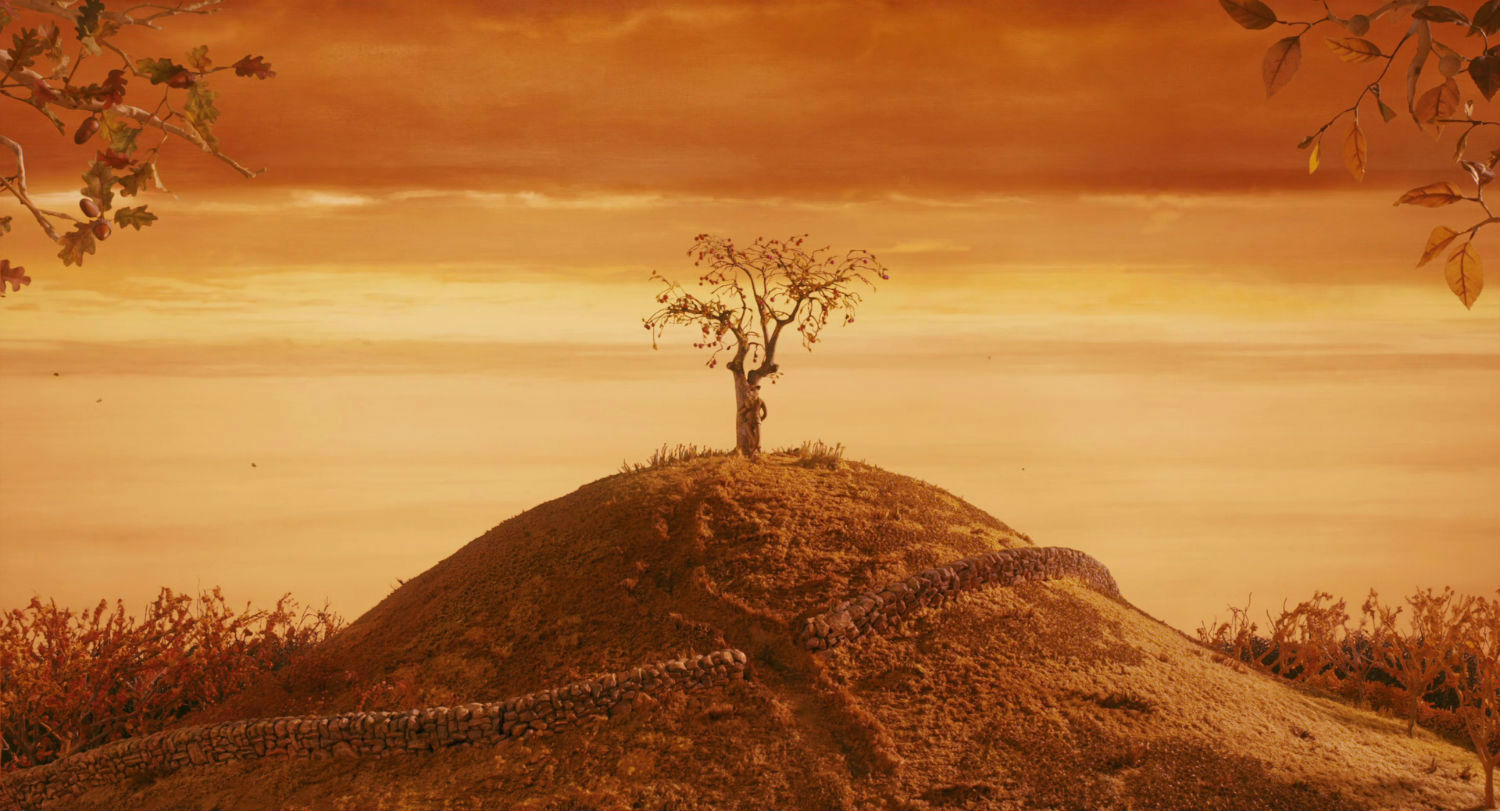 wes anderson fantastic mr fox orange landscape tree