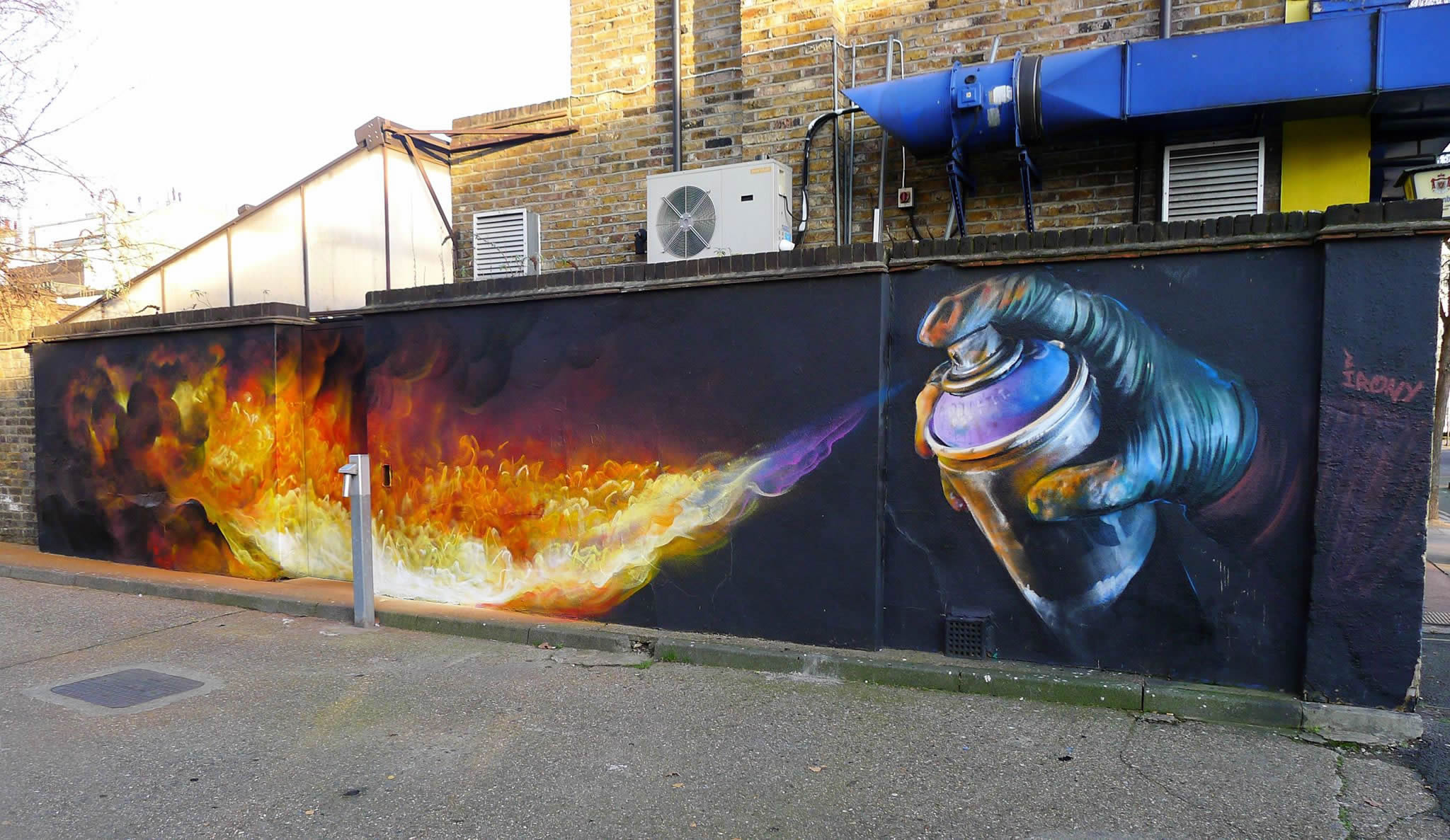 burn, spray can spraying fire, whoam irony