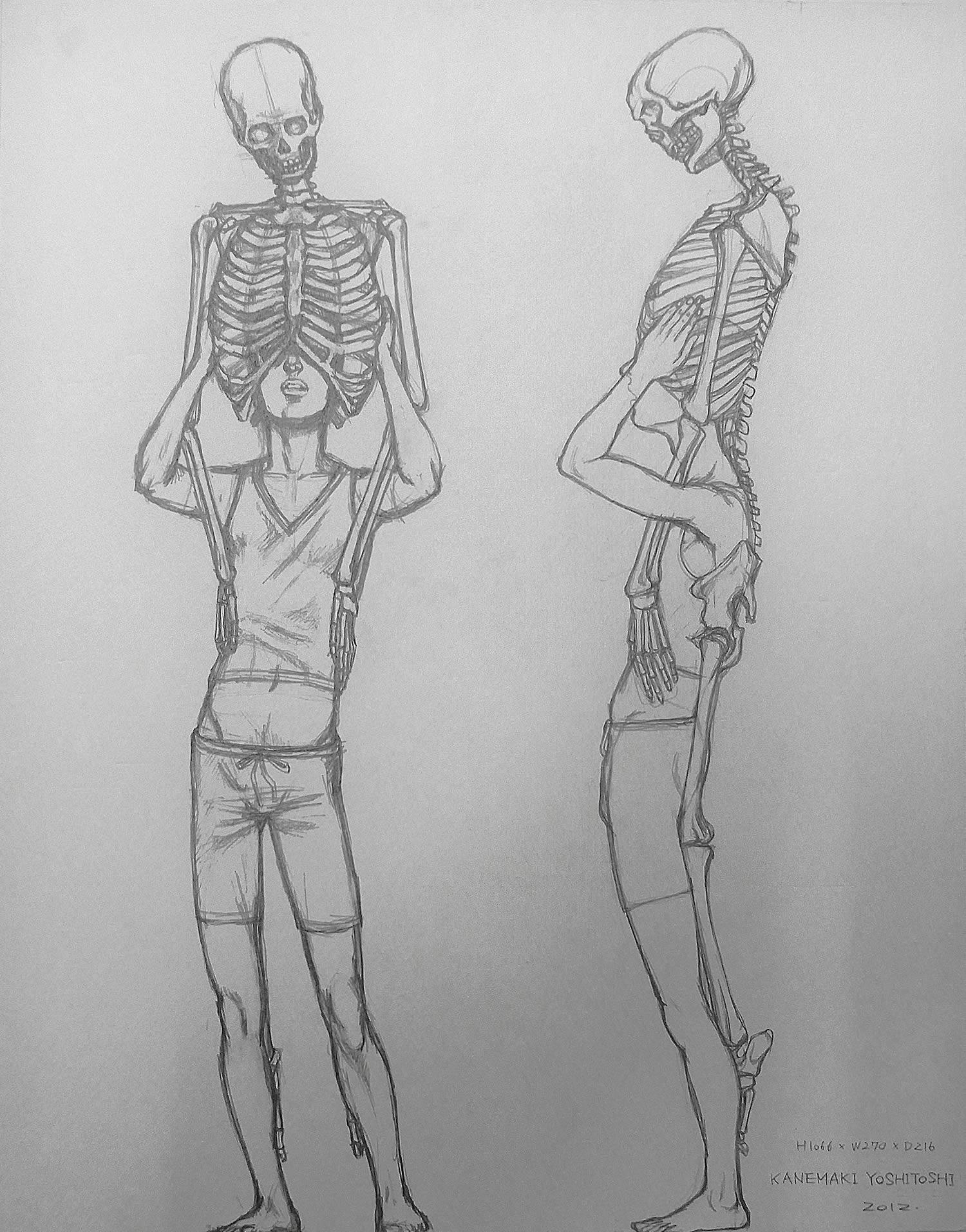 skeleton and boy sketch on paper