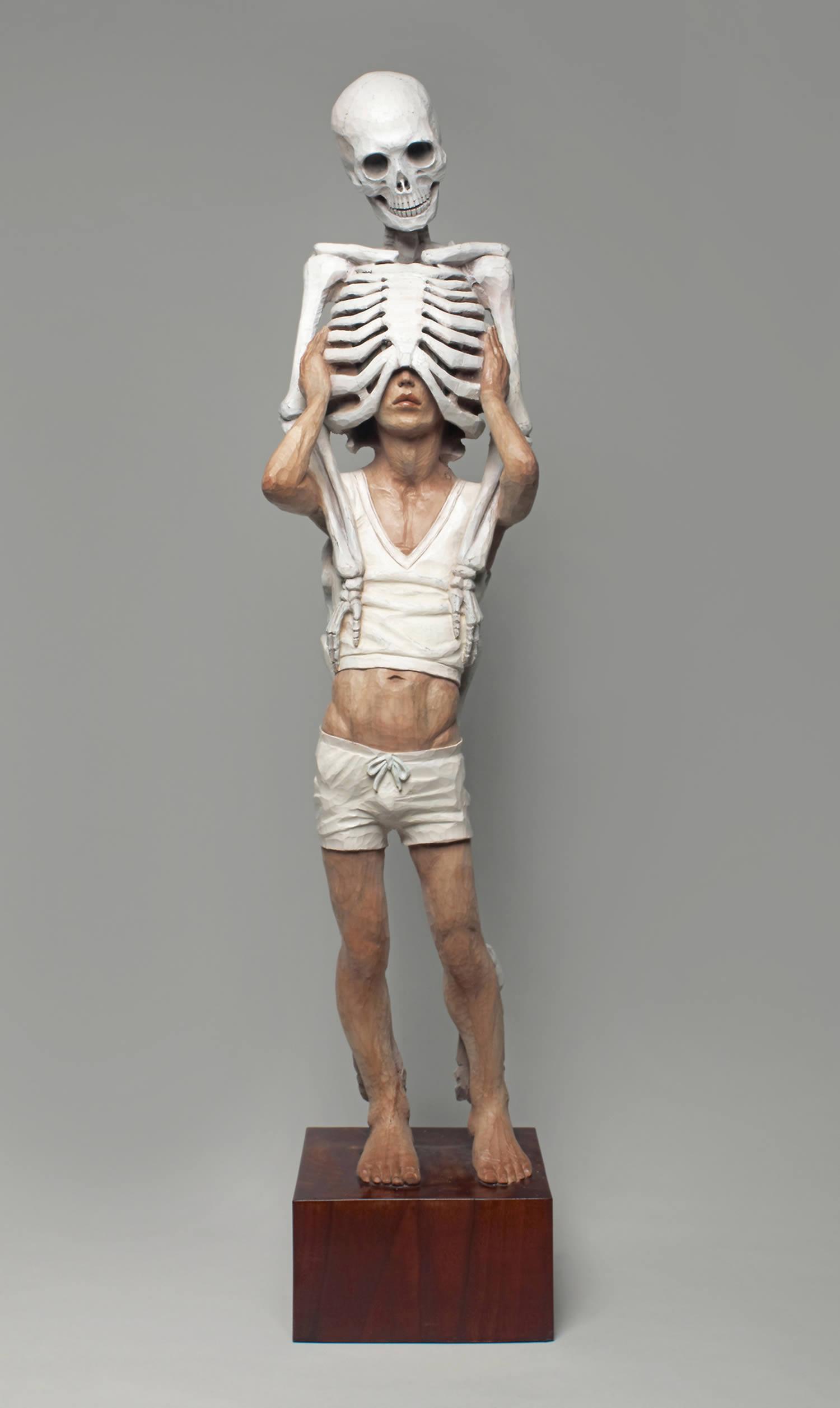 man with skeleton body, memento mori