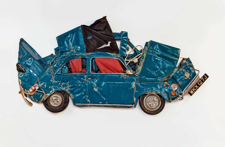 Ron Arad's Turquoise Flattened Fiat Car Sculpture