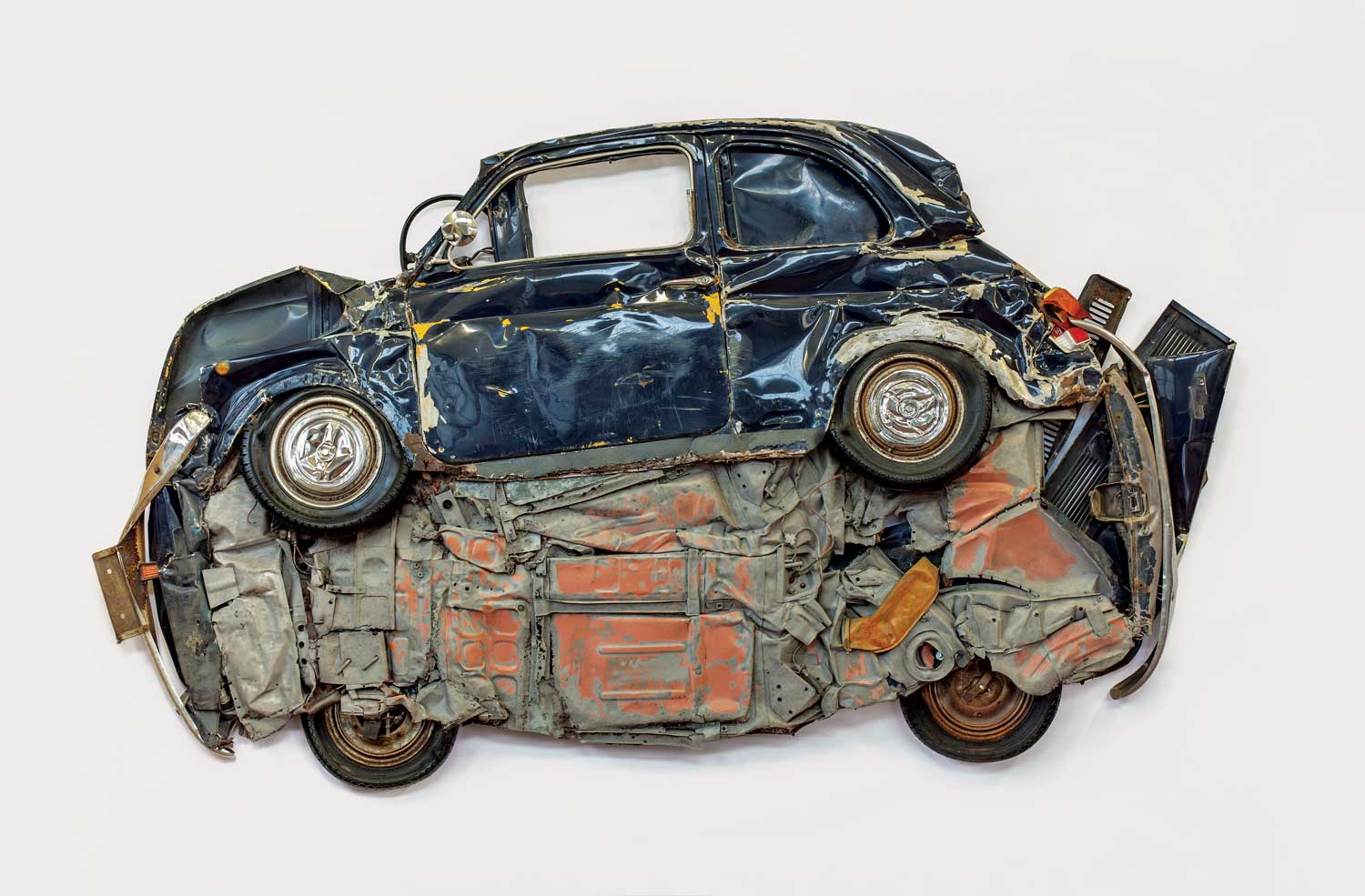 Ron Arad's Blue Flattened Fiat Car Sculpture