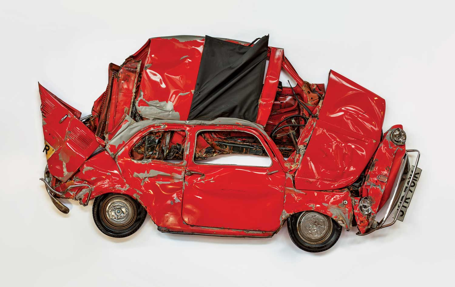 Ron Arad's Red Flattened Fiat Car Sculpture
