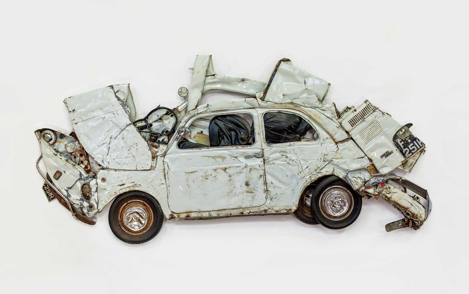 Ron Arad's White Flattened Fiat Car Sculpture