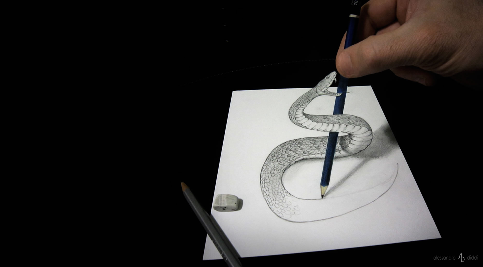 3d snake drawing by alessandro diddi