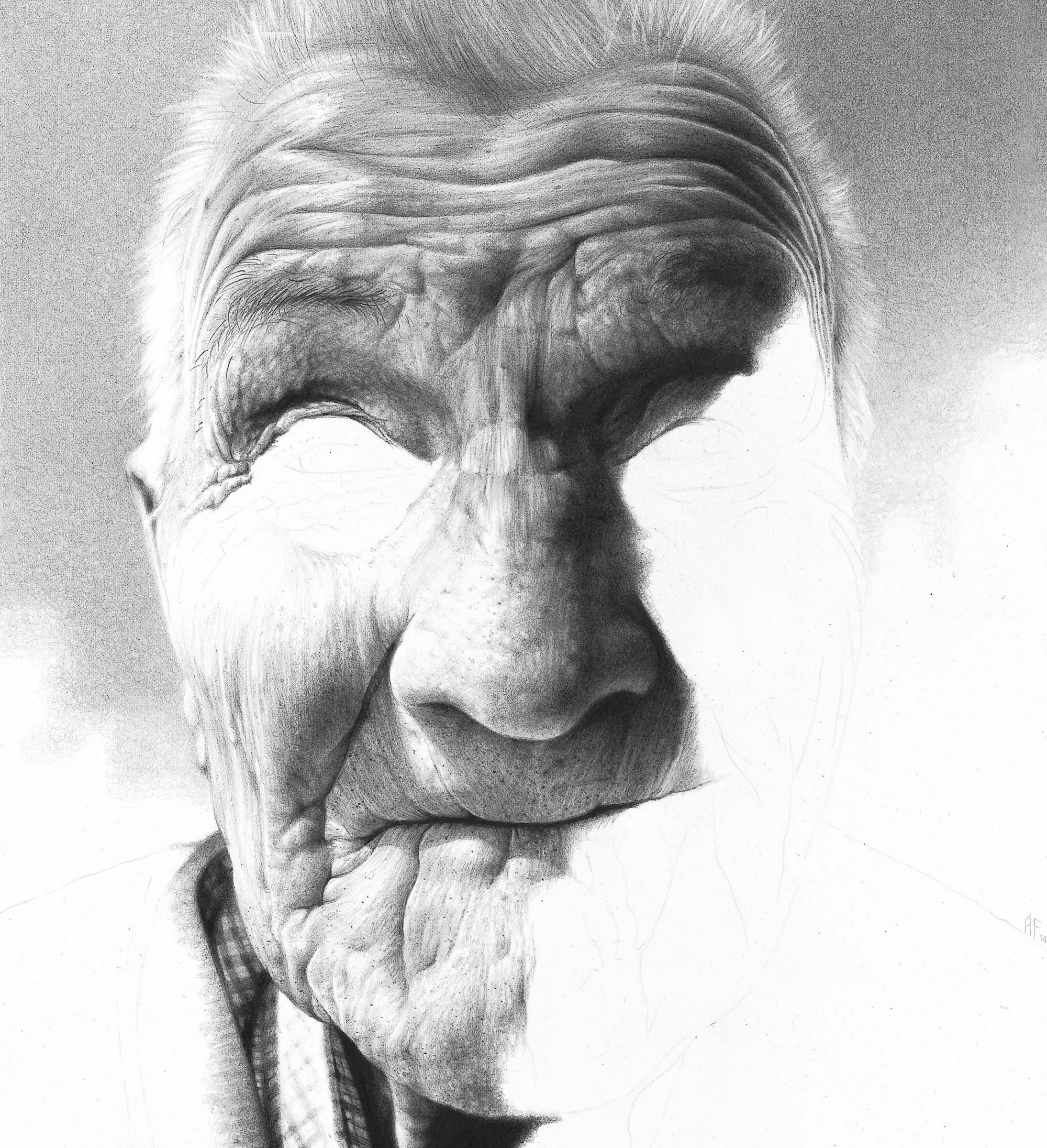 pencil portrait of elderly man by antonio finelli