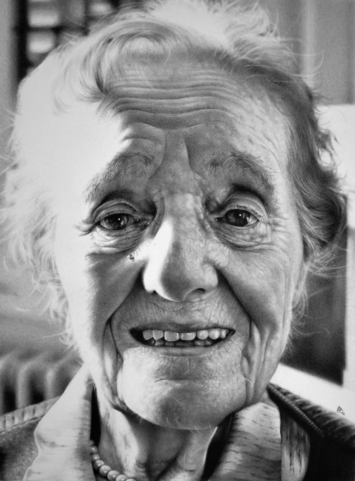 elderly lady, portrait by antonio finelli