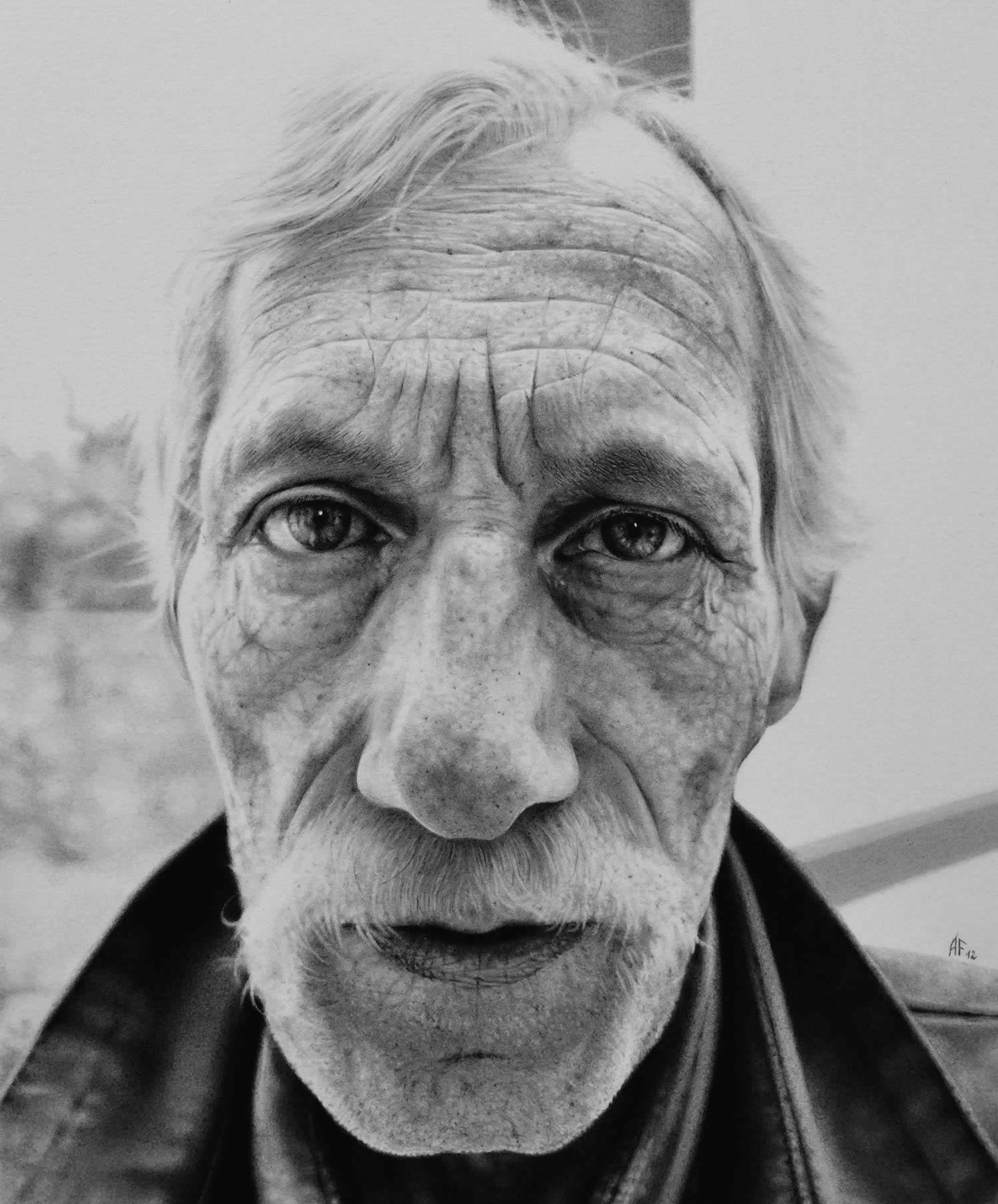 hyperrealist art by antonio finelli, man with moustache