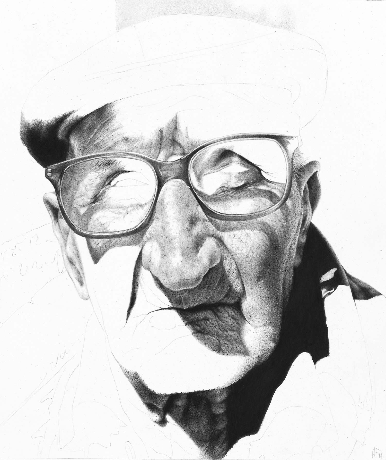 man with glasses, pencil art by antonio finelli