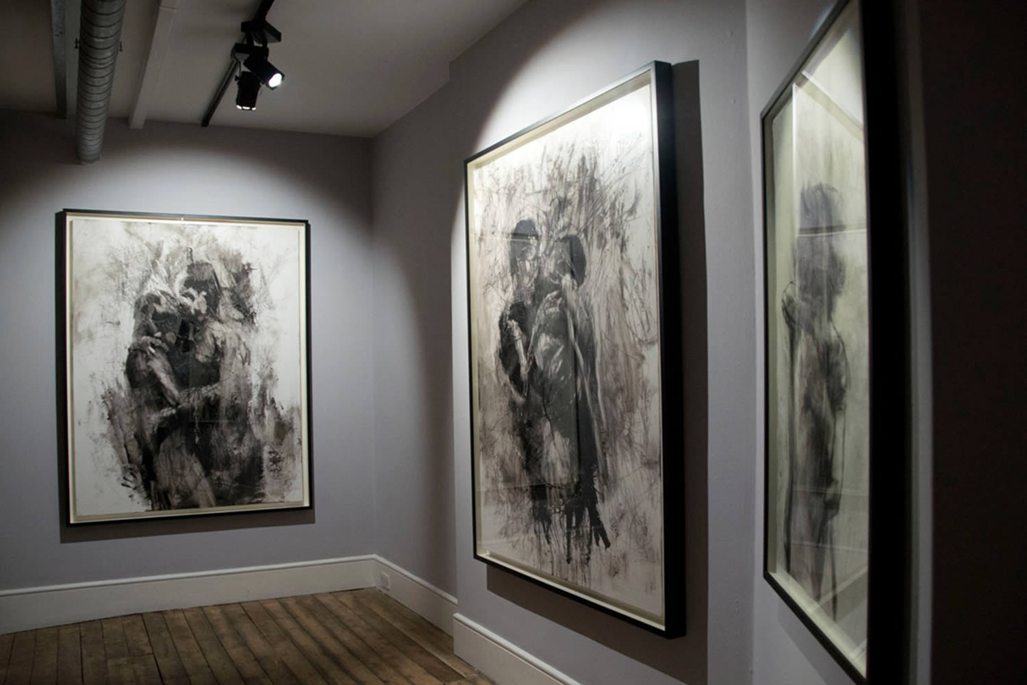 black and white paintings by micallef at  Lazarides Gallery