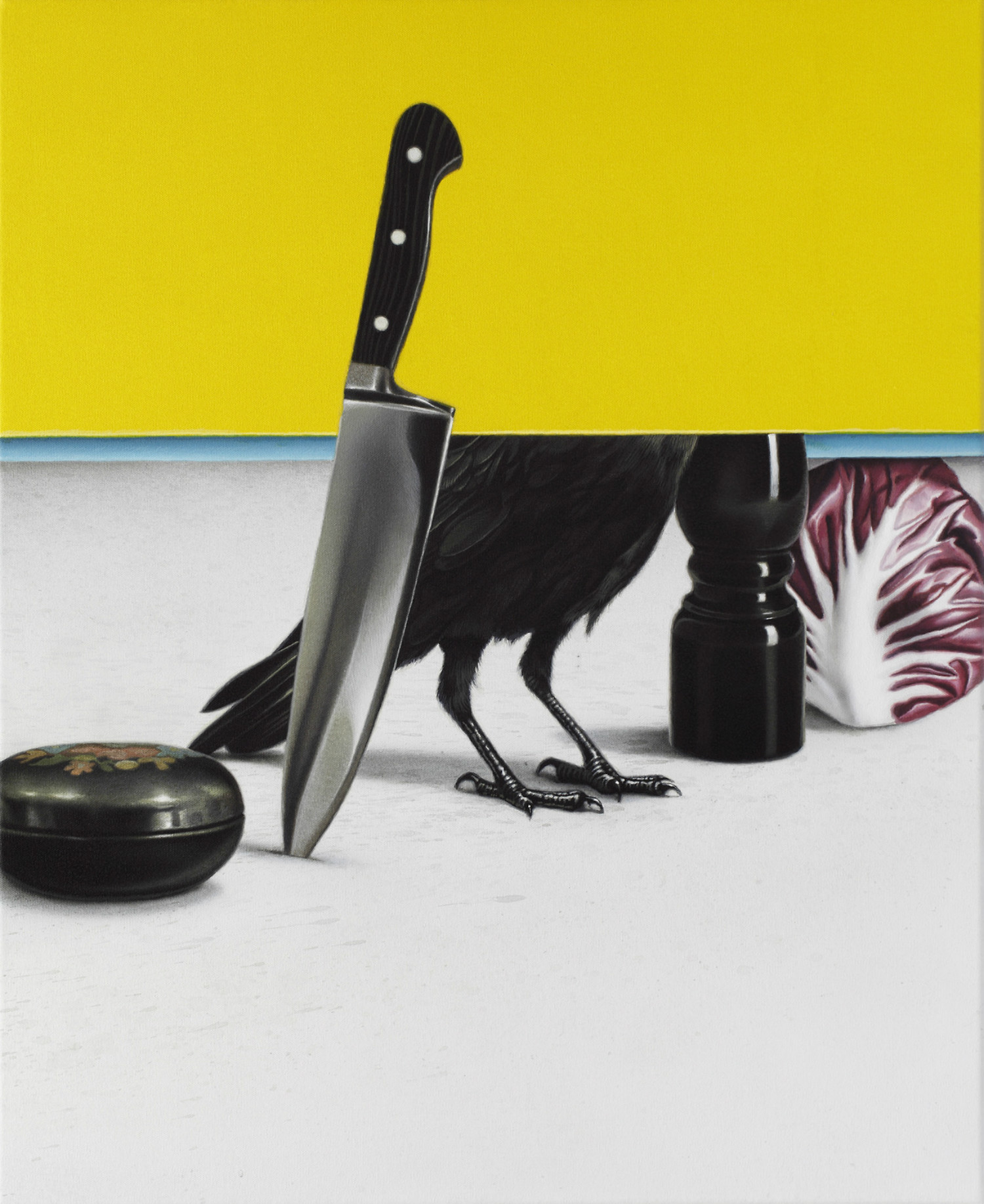 eckart hahn painting hyperrealist colour animal knife
