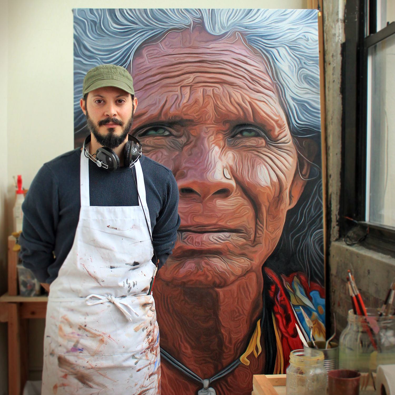erik maniscalco painting hyperrealism portrait large canvas detail