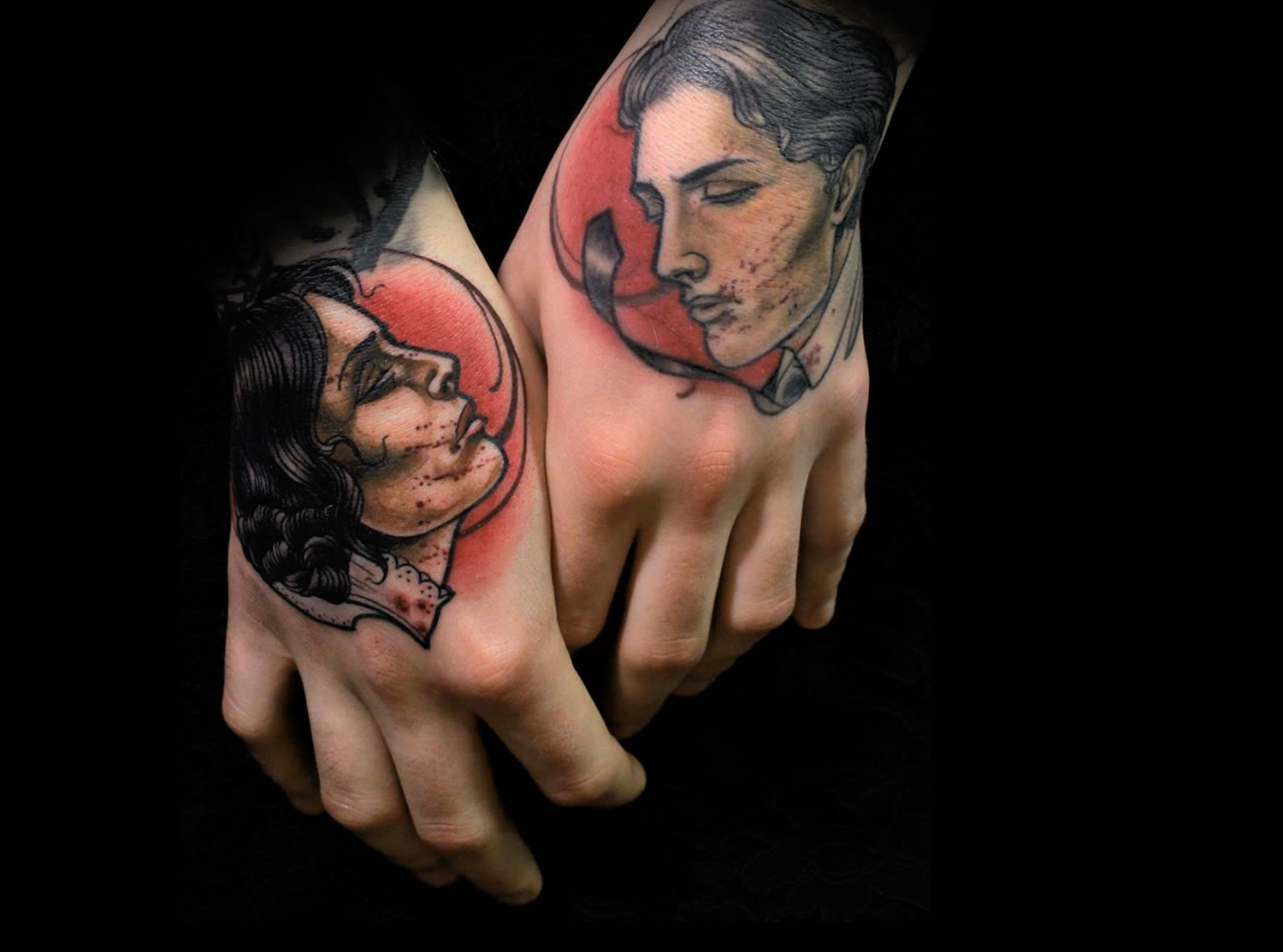 romantic couple (man and woman) hand tattoo by Daniel Gensch