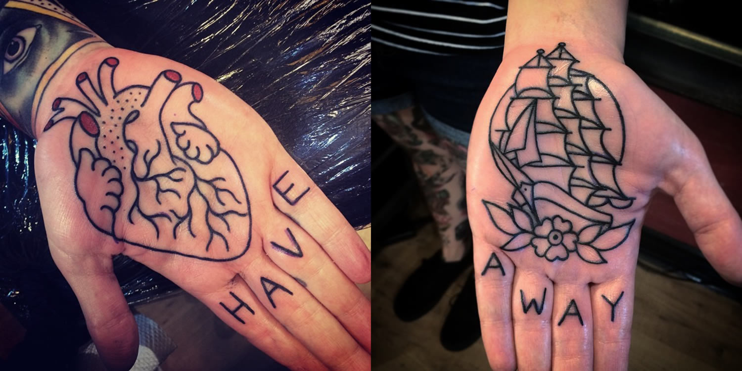 heart and sail ship tattoos on hands by phil hatchet-yau