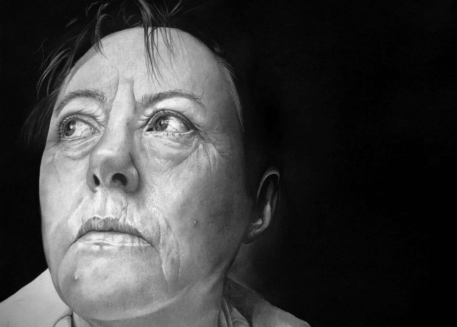 black white portrait hyper realism pencil
