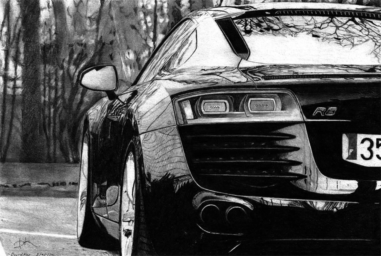 david kao pencil drawing car