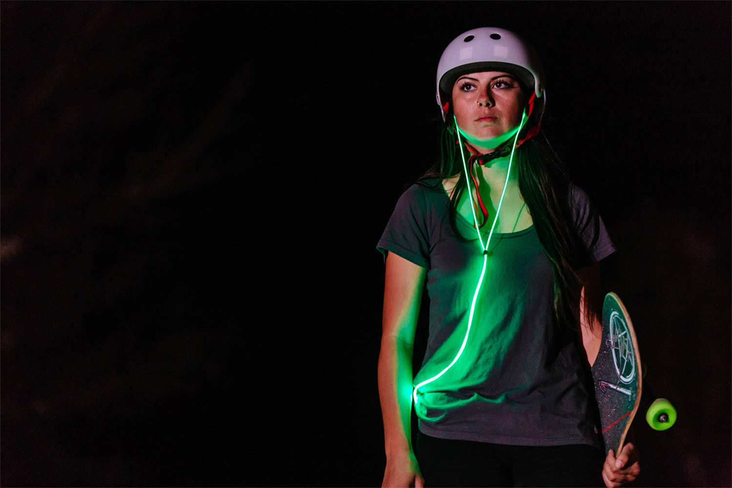 glow laser light headphones, skateboard girl