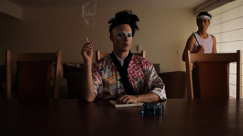 wu tsang la artists contemporary art, man with makeup smoking