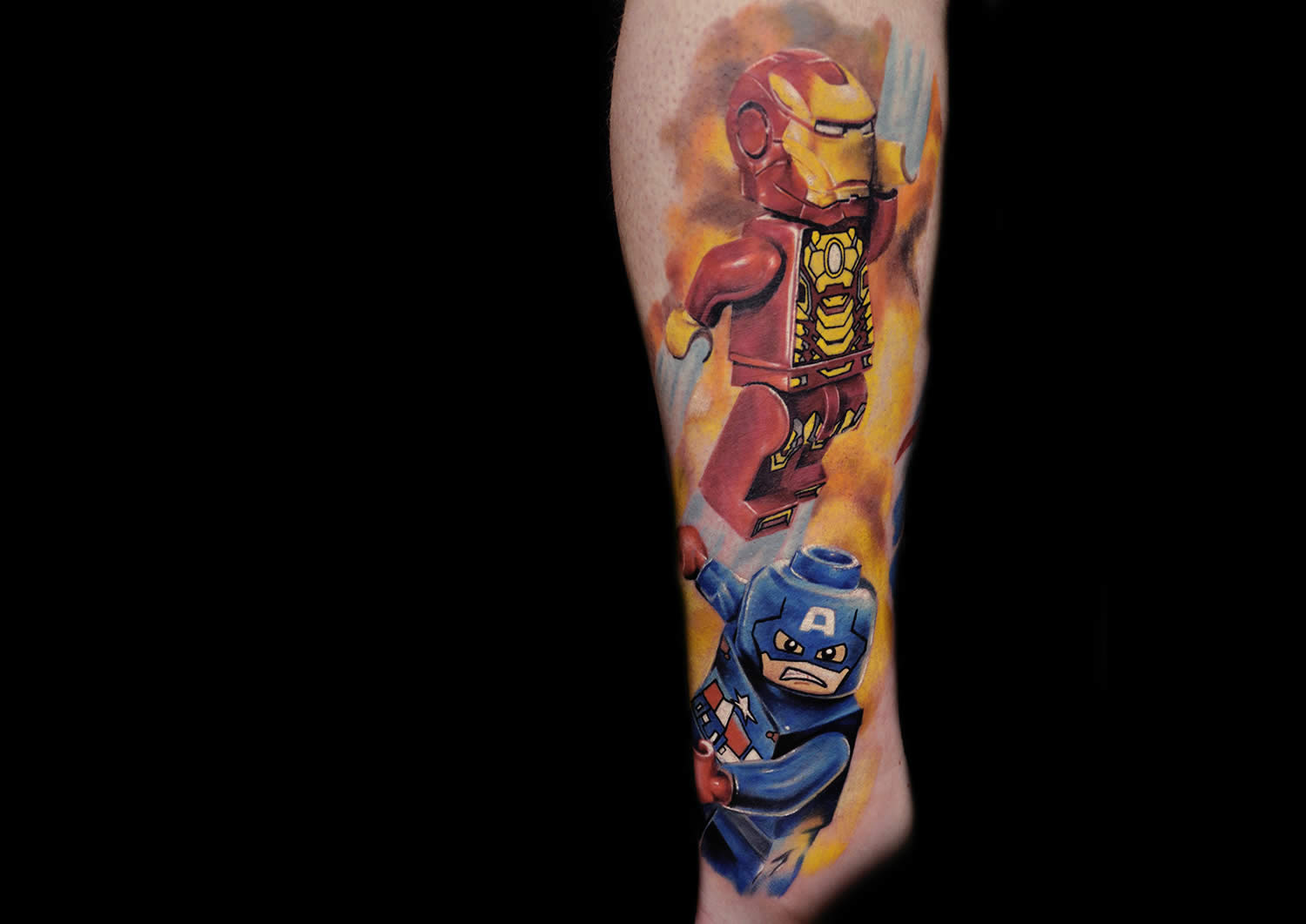 iron man and captain america lego minifigure tattoos
