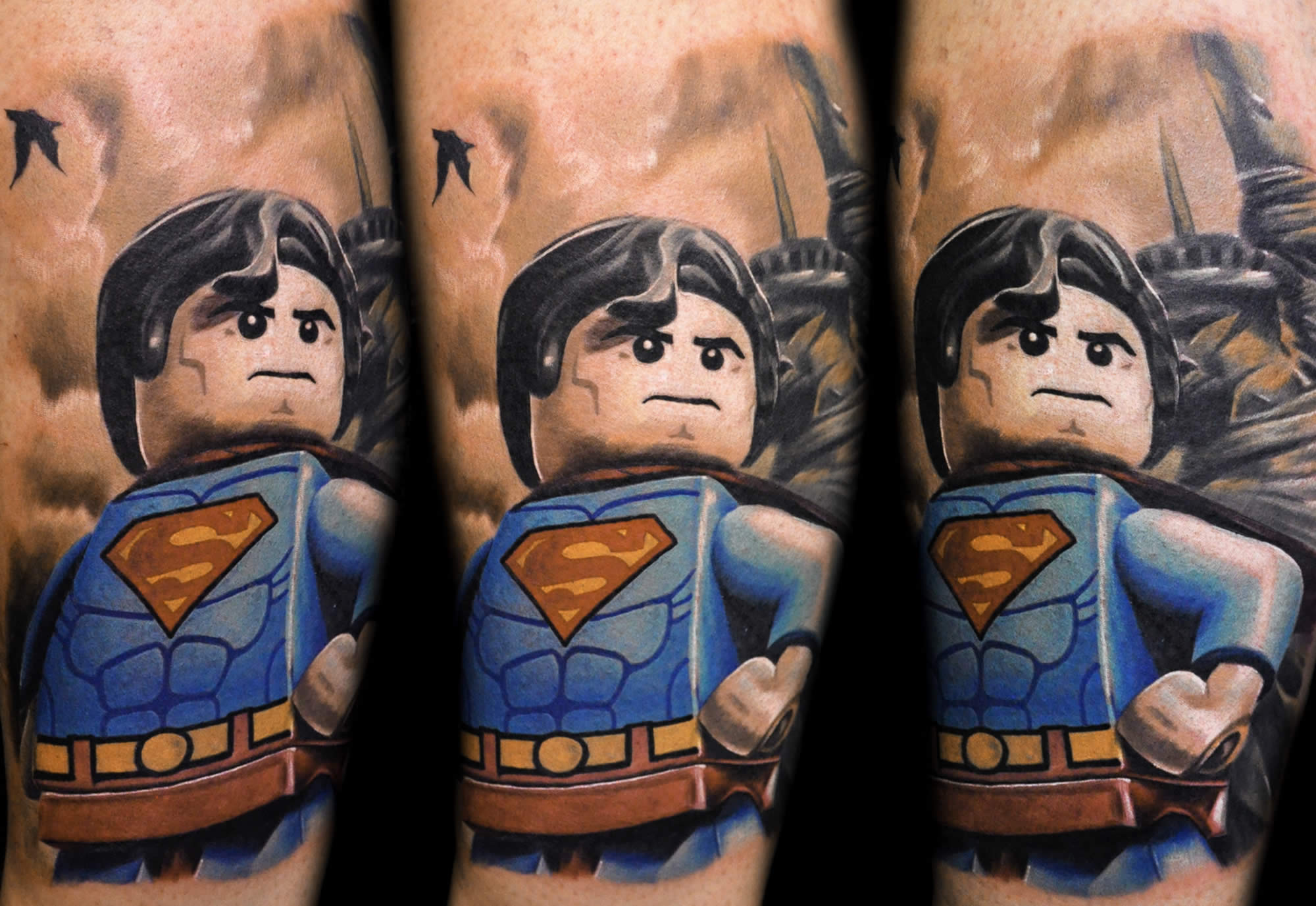 superman lego character tattoo
