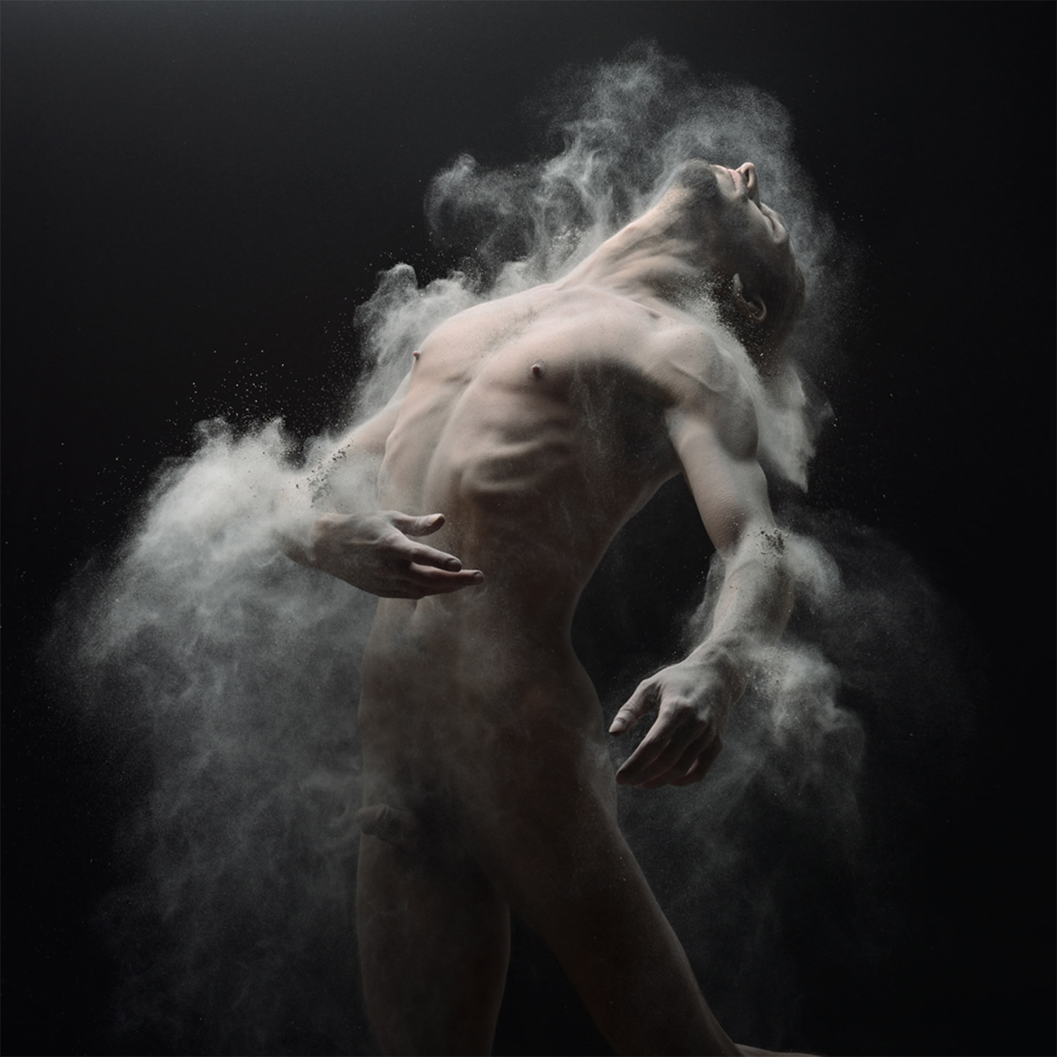 man in motion, powder in air, photo by olivier valsecchi