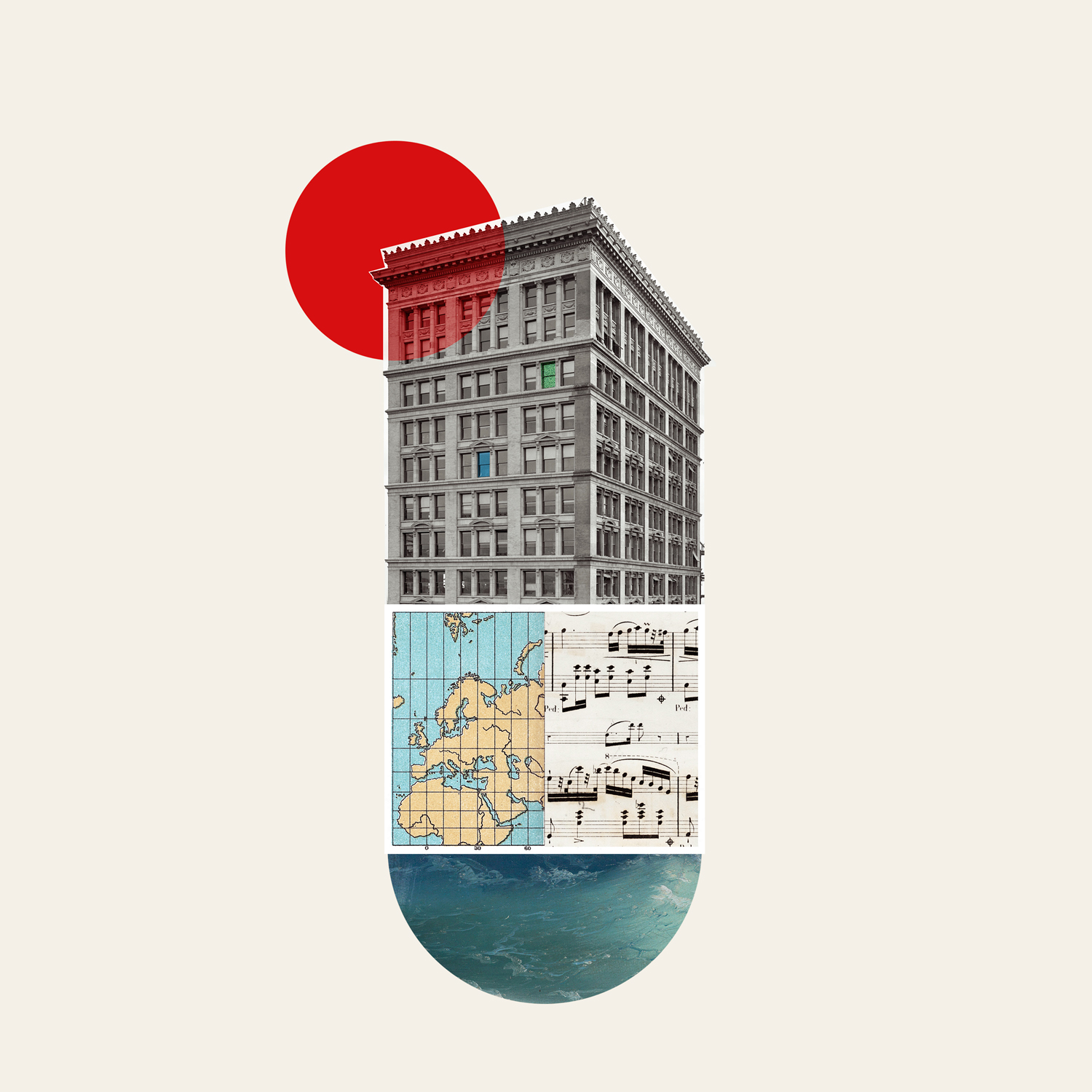 oleg borodin art colour collage design buildings