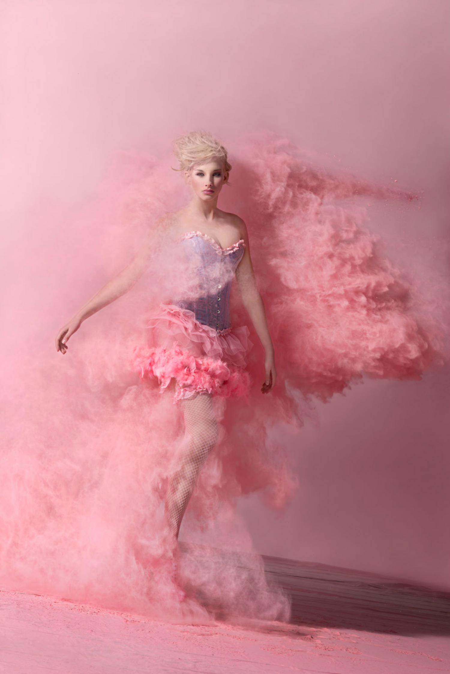 oliver oettli powder photography model fashion pink dust cloud