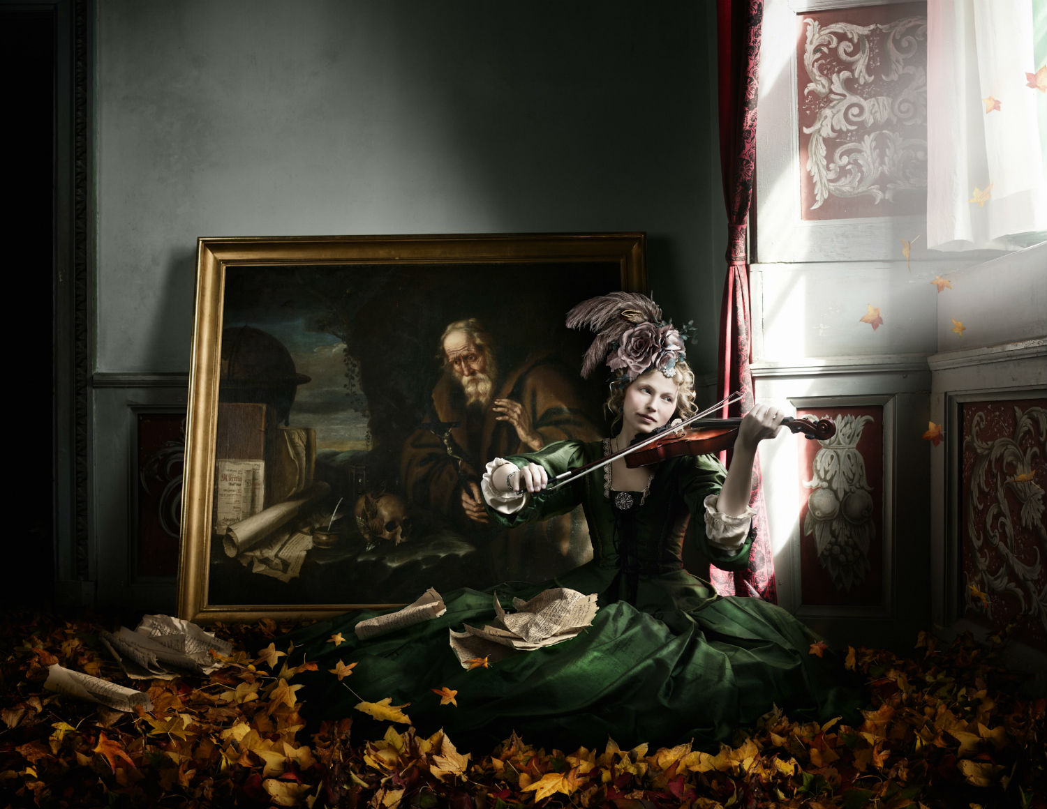 alexia sinclair photography history period detail model flemish detail autumn leaves
