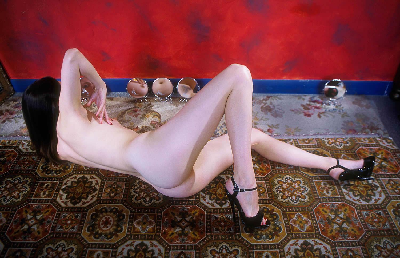 nude woman posing in three mirrors, Alva Bernadine