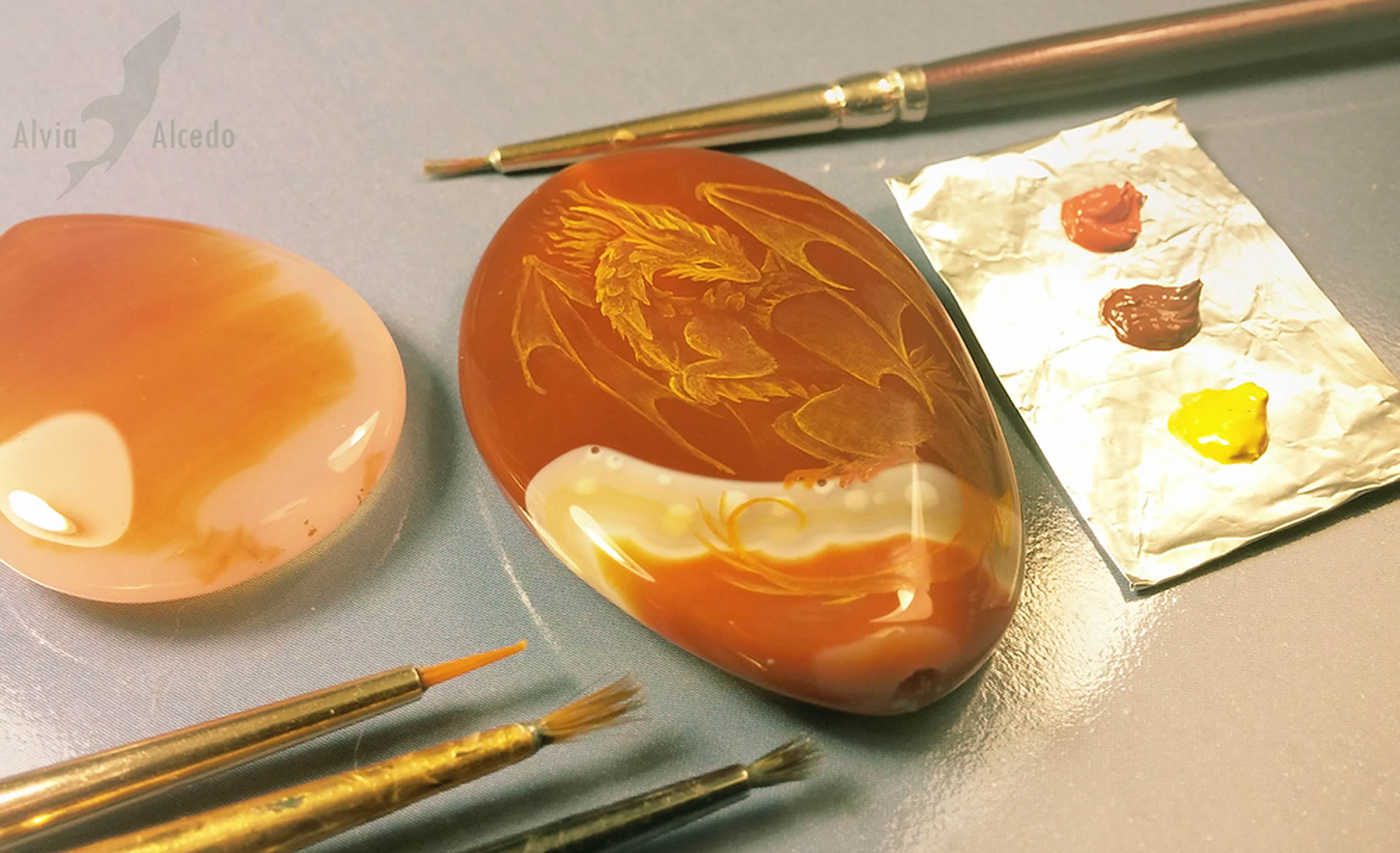 yellow dragon on dark orange stone