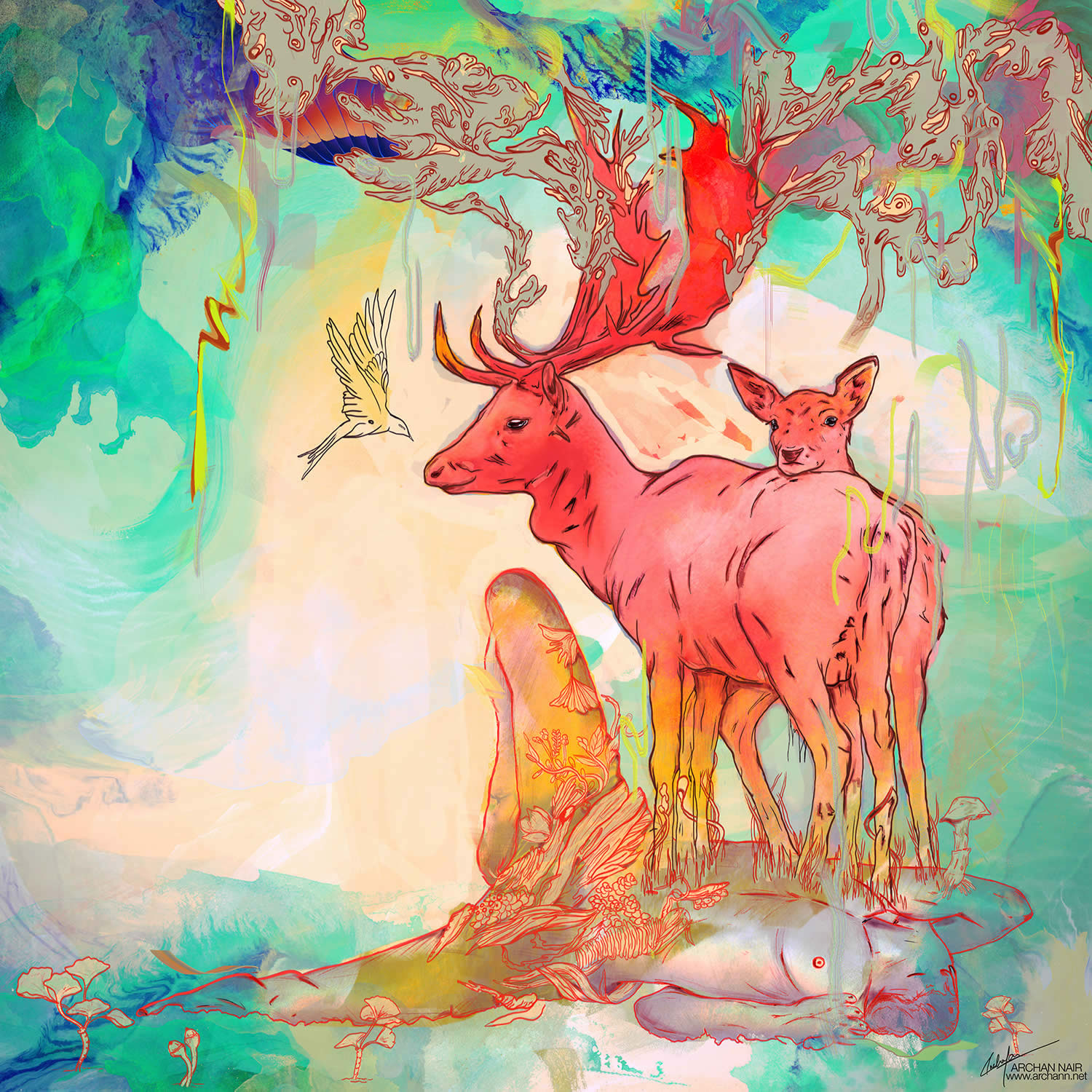 deer on top of person, surreal art by archan nair