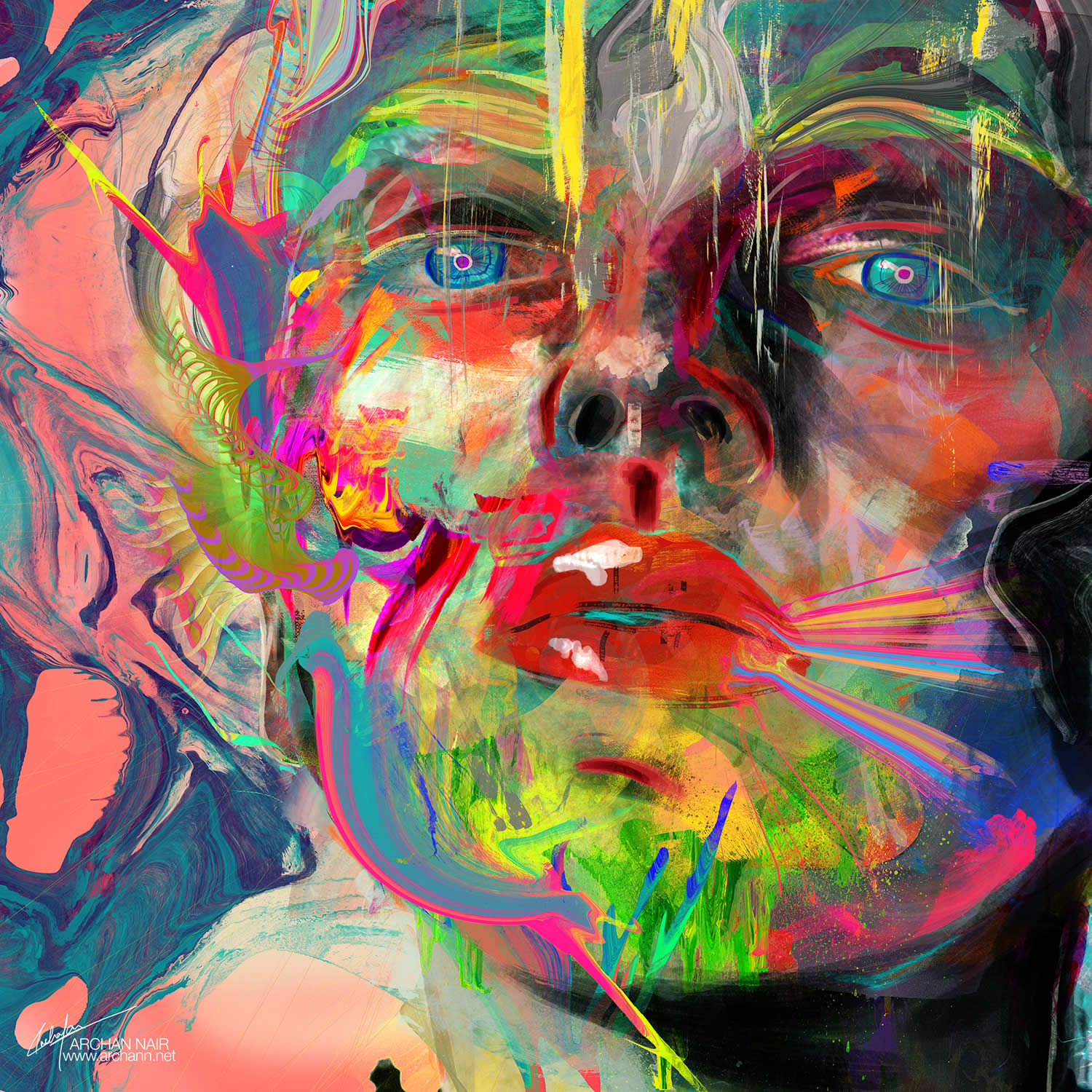 colorful portrait by archan nair