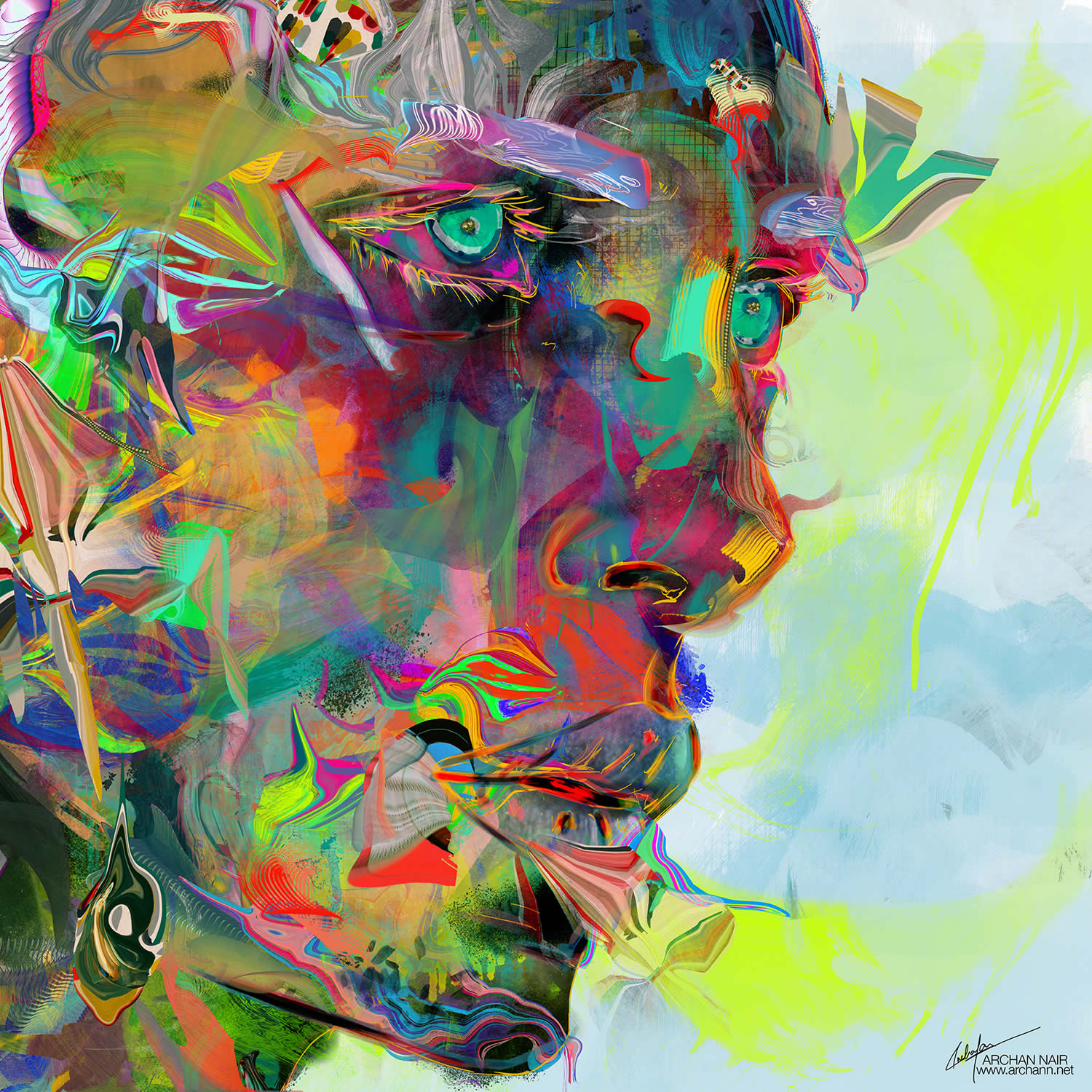 green eye man, art by archan nair