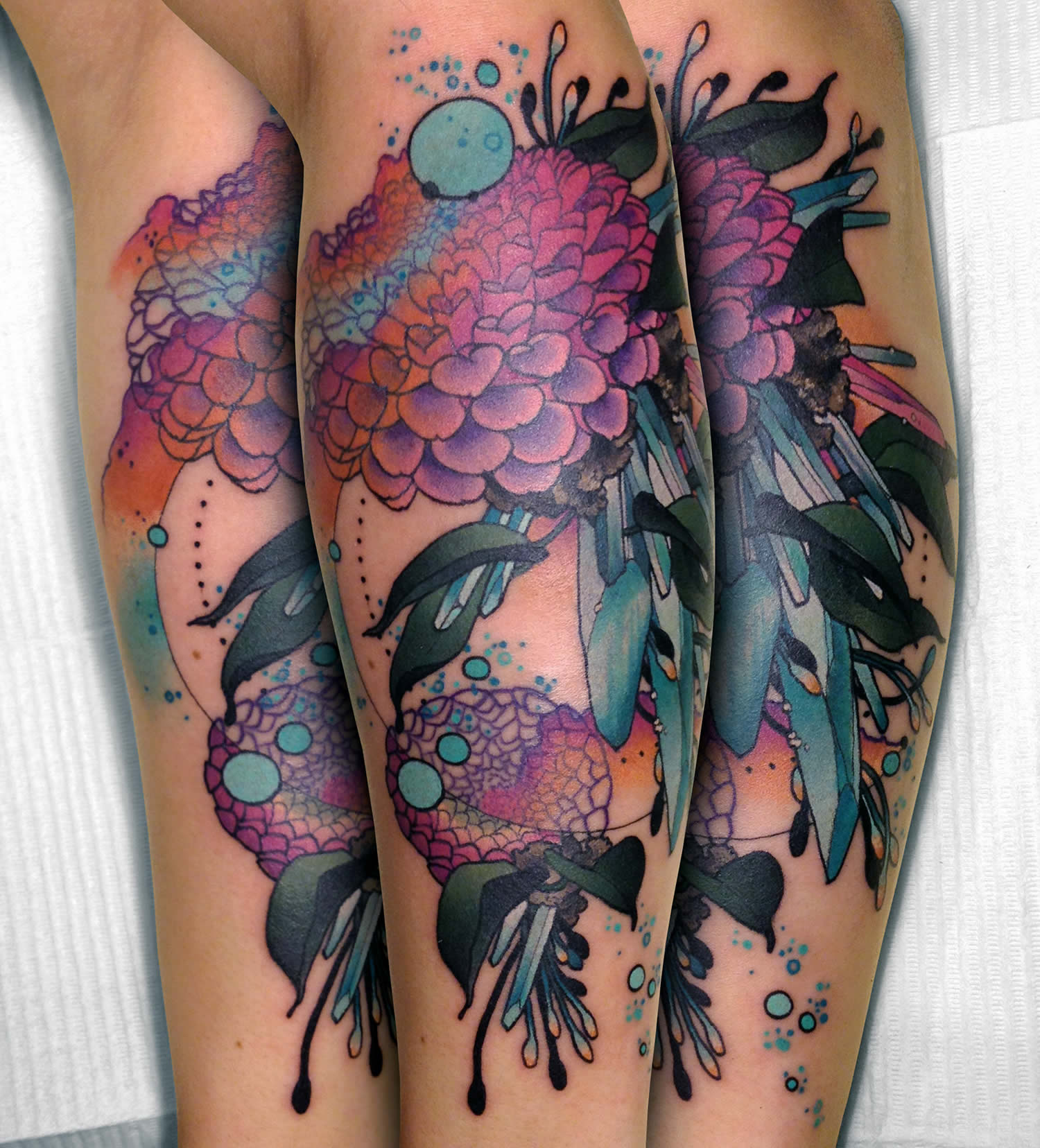pink and purple flowers, nature  tattoo by cody eich