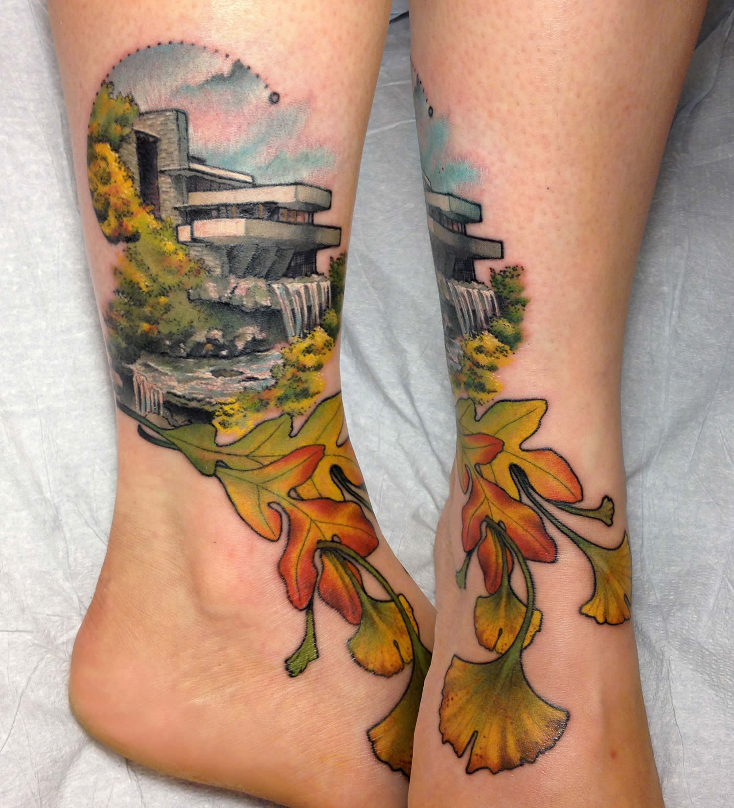 modern architecture and nature, foot tattoo by cody eich