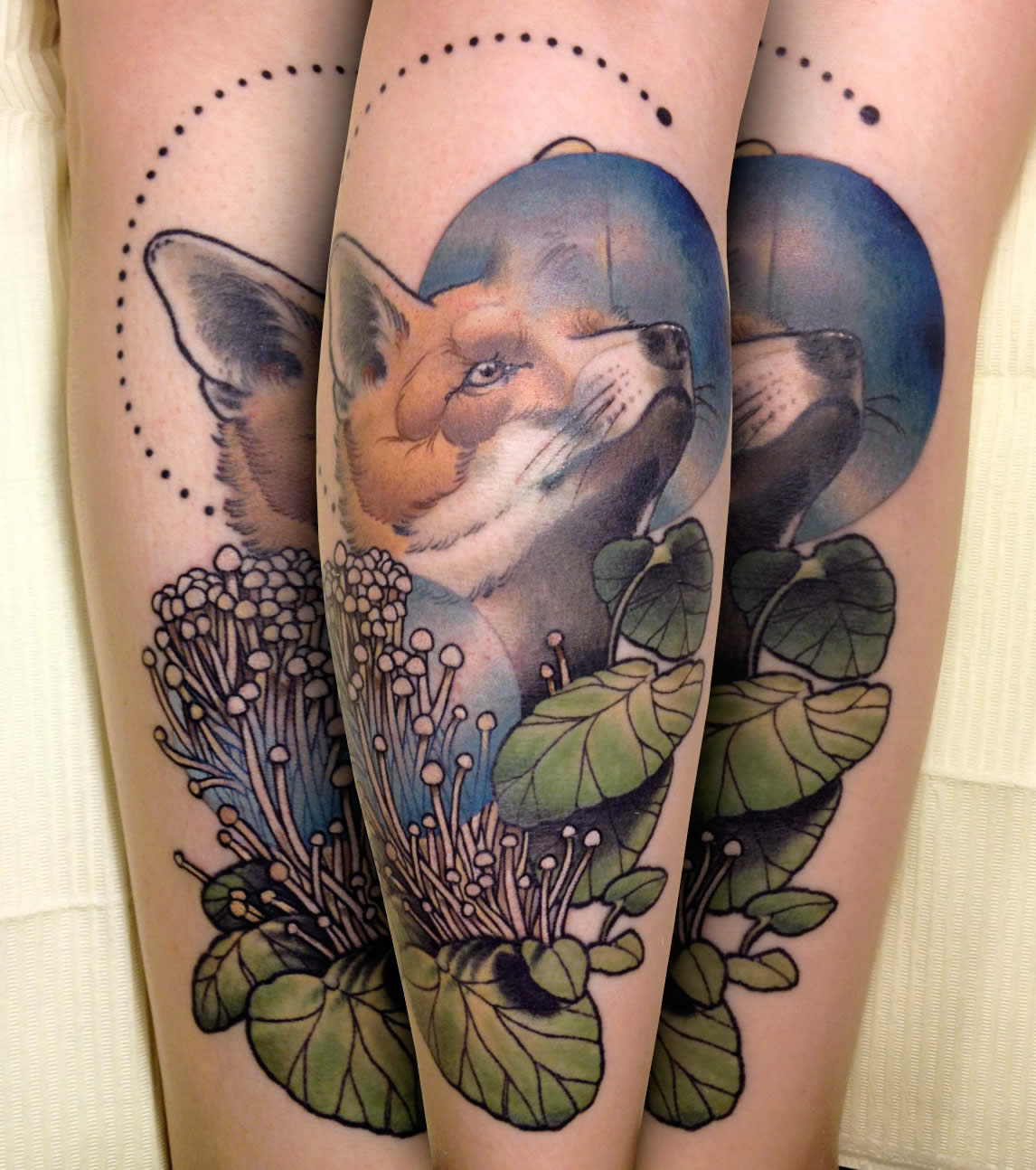 fox and nature tattoo by cody eich