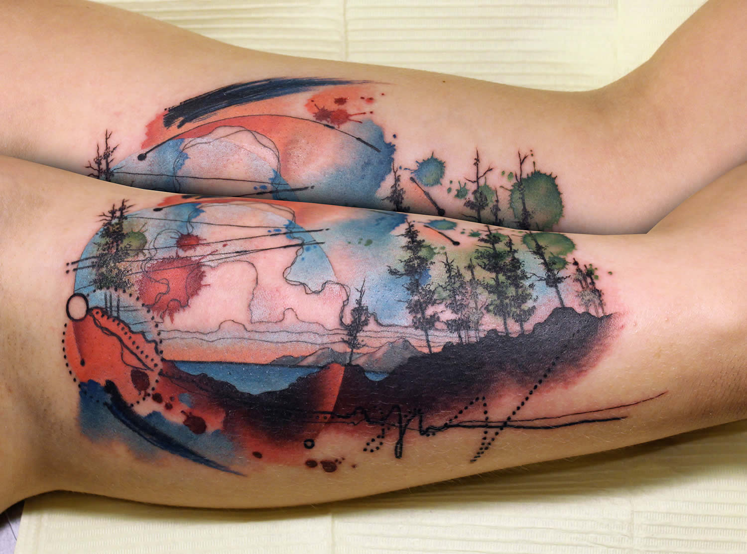 painterly, watercolor nature tattoo by cody eich