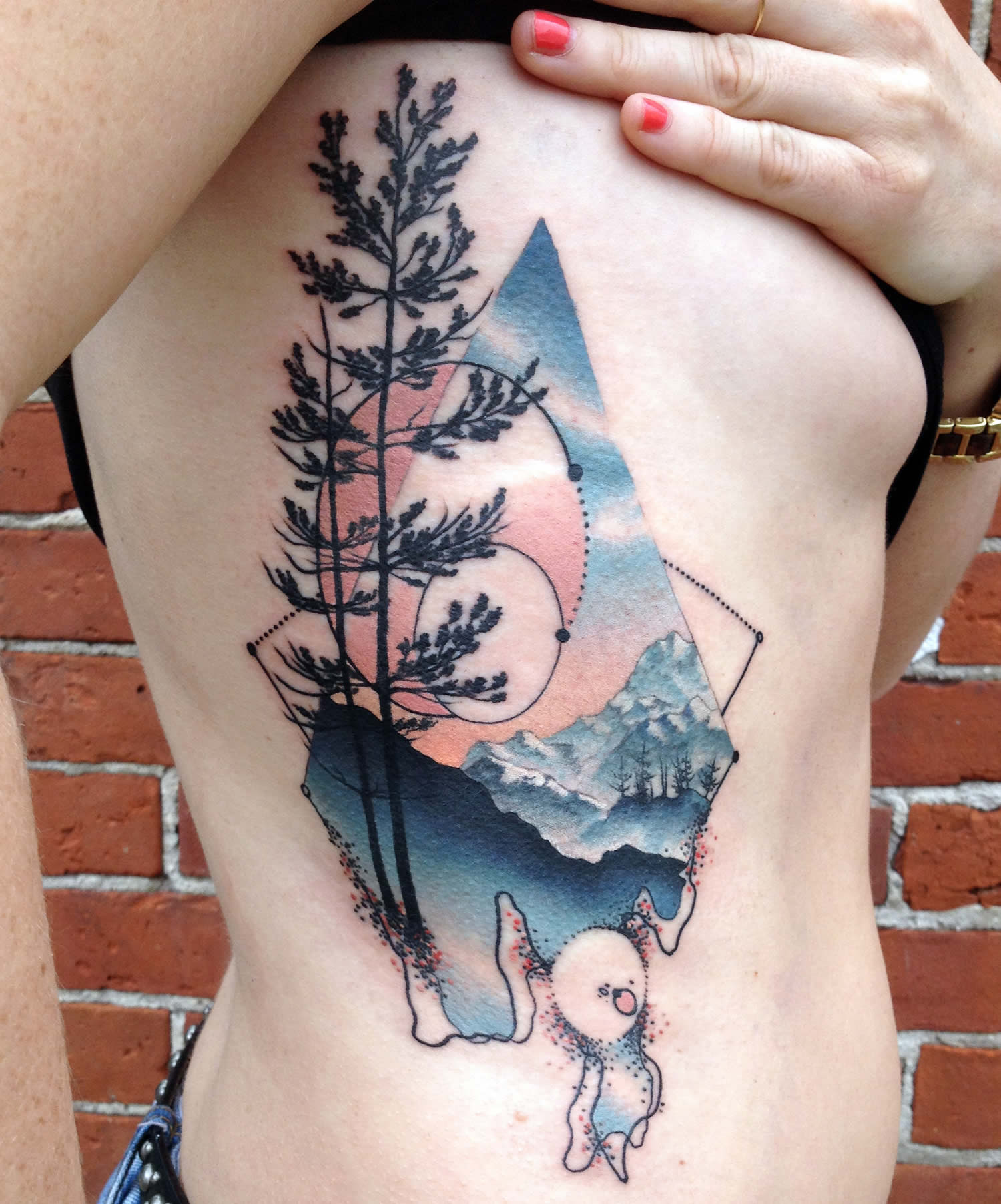 trees and mountain, nature tattoo by cody eich