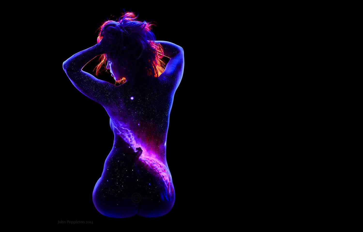 horse nebula, uv body painting, black light art by john poppleton