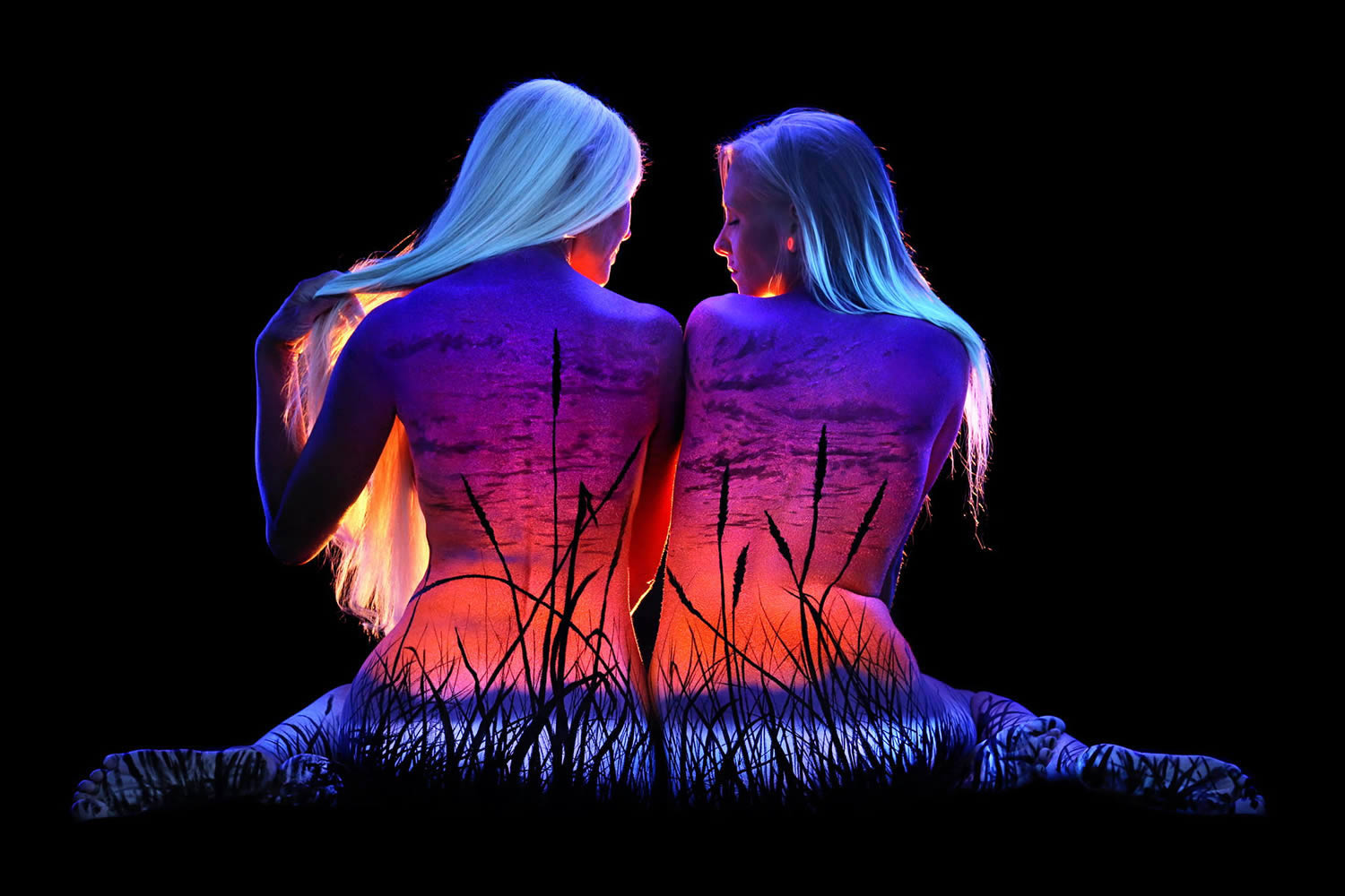 vegetation, plants, uv body painting, black light art by john poppleton