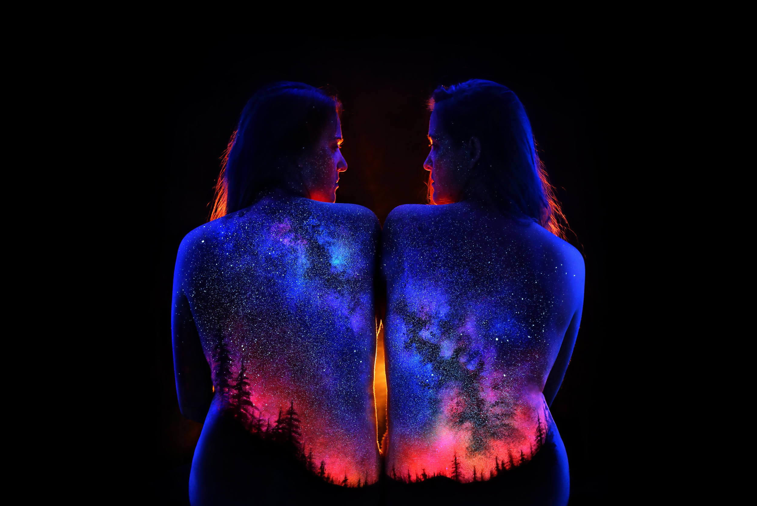 gallaxy, night and stars, body painting, uv light by john poppleton