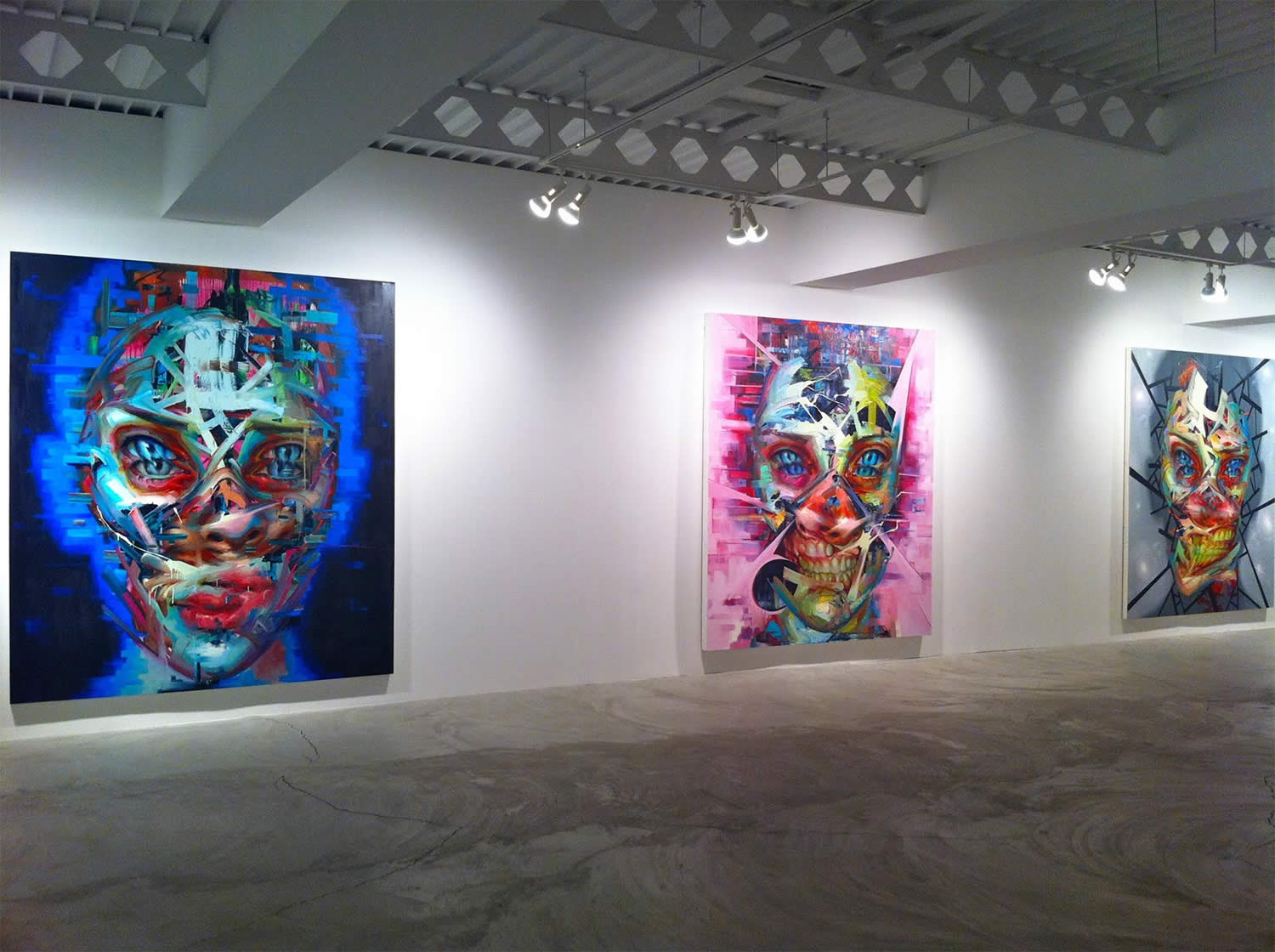 gallery shot, three painting by justin bower, Photo © Stix and Jones.
