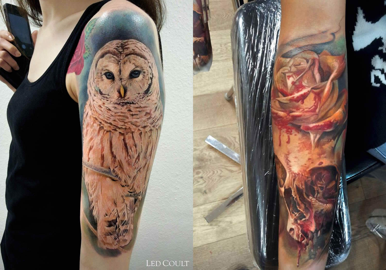 owl and flower tattoos by led coult